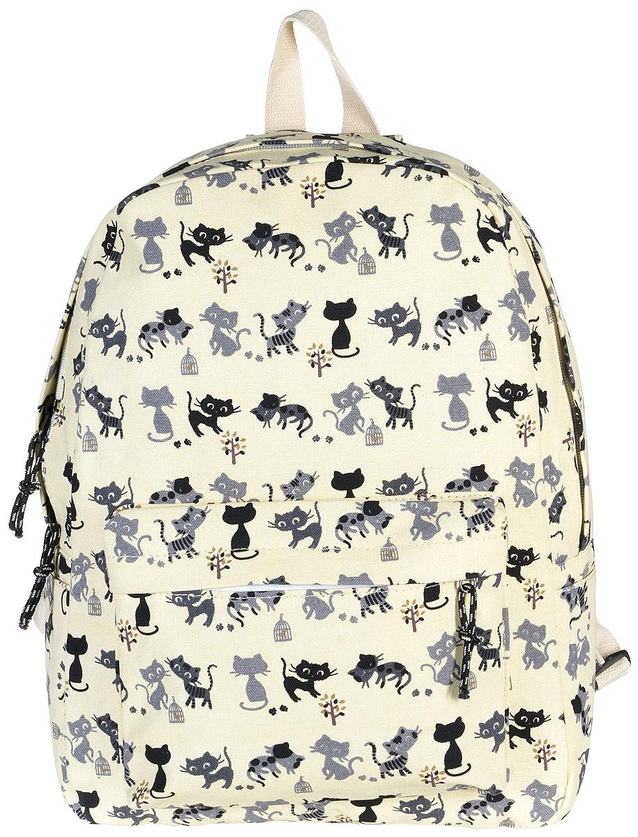 Рюкзак женский Kawaii Factory Cat, цвет: бежевый. KW102-000171101225Рюкзак Cat от Kawaii Factory- идеальное сочетание креативного дизайнерского подхода и простоты исполнения. Модный рюкзак с черными котами удобный и функциональный, сшит из прочного материала. В нем есть все, что нужно - одно основное отделение, закрывающееся на застежку-молнию, один внутренний накладной карман, а также карман на молнии на передней части рюкзака. По бокам имеются небольшие кармашки для различных мелочей. Благодаря отличной эргономичности прогулочный рюкзак будет практически невесомым на вашей спине. Рюкзак непременно приглянется активным девушкам, желающим выделиться среди толпы и подчеркнуть свой неповторимый стиль. Просто невозможно остаться незамеченной, имея за спиной ранец Cat с забавным принтом.