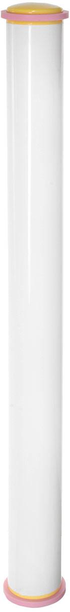 Скалка Tescoma Delicia, с регулируемой высотой, 50 смCL-1369Скалка с регулируемой высотой теста Tescoma Delicia отлично подходит для выкатывания марципана или помадки идеально ровного слоя, толщиной 3 или 5 мм. Может быть использована в качестве традиционной скалки (после удаления распорных колец). Изготовлена из превосходной прочной пластмассы и силикона. Можно мыть в посудомоечной машине.Длина скалки: 50 см.Диаметр скалки: 4 см.