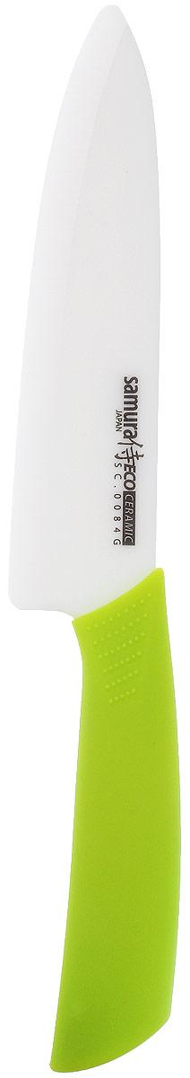 Нож керамический Samura Eco Ceramic, длина лезвия 17,5 смSC-0084GНож Samura Eco Ceramik отлично подходит для повседневного использования. Лезвие изготовлено из циркониевой керамики. Благодаря сверхвысокой твердости ножи из диоксида циркония режут без заточки годами. Керамическое лезвие бережно относится к нарезаемым продуктам, овощи и фрукты не вянут, не темнеют, продукты не изменяют вкус и запах и дольше сохраняют свежесть. Нож не оставляет послевкусия, потому что не вступает в химическую реакцию ни с какими продуктами. Изделие не впитывают запах продуктов (в частности рыбы). Эргономичная ручка выполнена из ABS-пластика с покрытием из термостойкого каучука, она не скользит в руках и делает резку удобной и безопасной. Нож Samura Eco Ceramik понравится как любителям, так и профессионалам. Общая длина ножа: 29,5 см. Длина лезвия: 17,5 см.