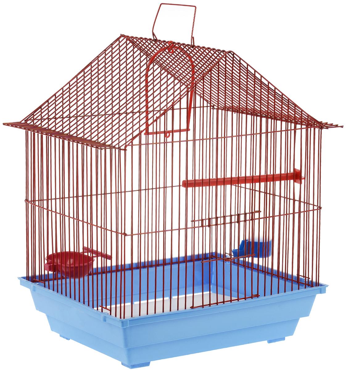 Клетка для птиц ЗооМарк, цвет: голубой поддон, красная решетка, 39 х 28 х 42 см0120710Клетка ЗооМарк, выполненная из полипропилена и металла, предназначена для мелких птиц. Вы можете поселить в нее одну или две птицы. Изделие состоит из большого поддона и решетки. Клетка снабжена металлической дверцей, которая открывается и закрывается движением вверх-вниз. В основании клетки находится малый поддон. Она оснащена жердочкой, кольцом для птицы, кормушкой, поилкой и подвижной ручкой для удобной переноски. Клетка удобна в использовании и легко чистится. В такой клетке вашему питомцу будет уютно и он будет чувствовать себя в безопасности. Комплектация: - клетка с поддоном, - малый поддон; - кормушка; - поилка; - кольцо,- жердочка.