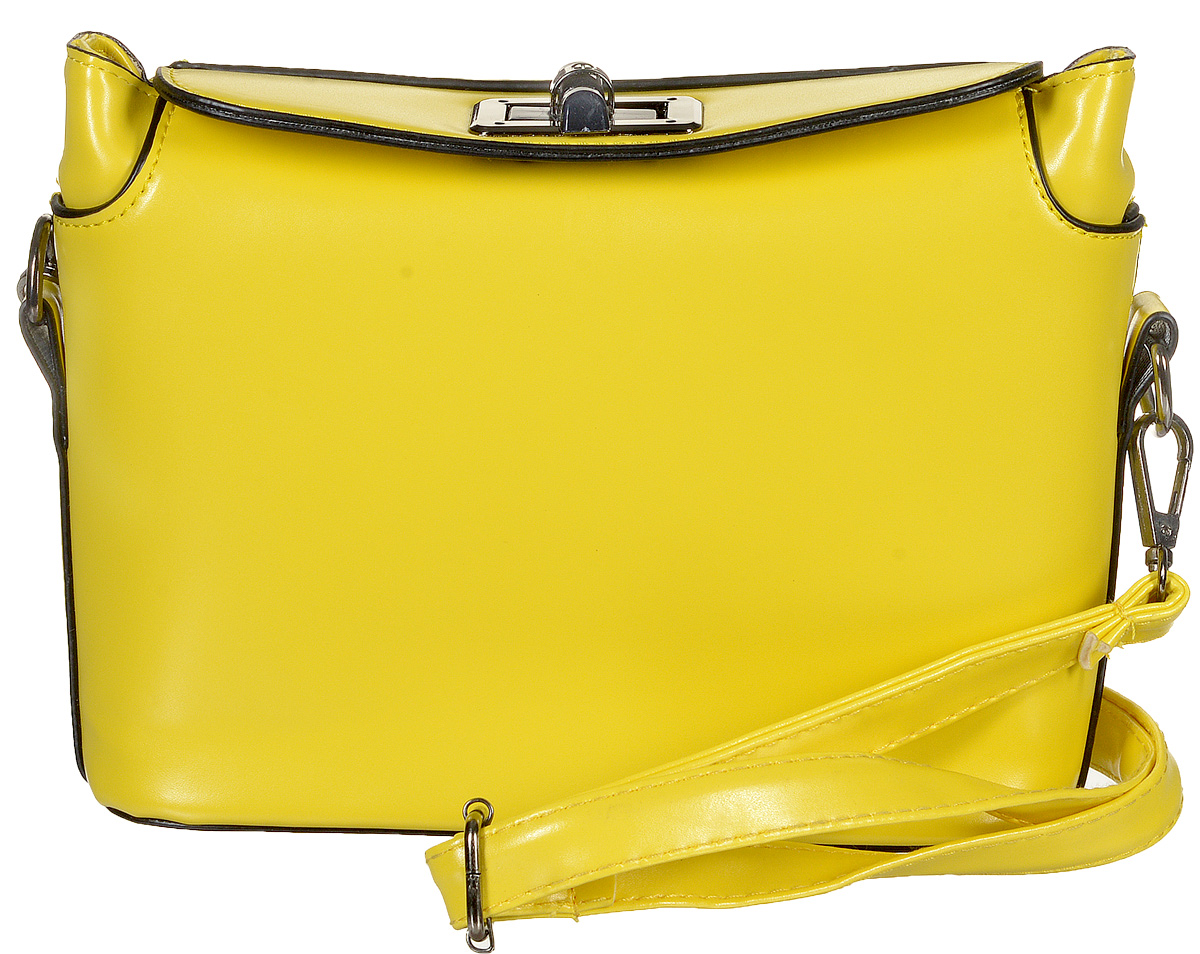 Сумка женская Kawaii Factory Inspiring, цвет: желтый. KW100-000030S76245Когда хочется расслабиться и не думать о сложных сочетаниях вещей, на помощь приходят базовые сумочки, которые отлично смотрятся с любым образом. Простая, но очень милая сумка Inspiring от Kawaii Factory - удачный выбор, даже если вы совсем не любите выбирать. Изделие выполнено из искусственной кожи и оснащено удобным замком-вертушкой, который точно сбережет ваши вещи. Внутренний объем позволяет вместить в аксессуар все необходимое. Модель имеет одно основное отделение. Внутри имеется прорезной кармашек на застежке-молнии и два накладных кармана для телефона и мелочей. В комплекте пристежной плечевой ремень, который регулируется по длине. Лаконичная и простая форма помогут этой сумочке вписаться даже в самый сложный и продуманный гардероб. Иногда очень важно, чтобы вещи были не только милыми и красивыми, но и удобными, а сумочка Inspiring полностью отвечает этим требованиям!