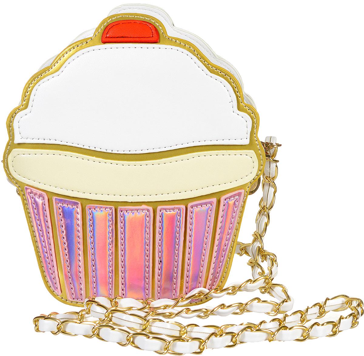 Сумка женская Kawaii Factory Капкейк, цвет: розовый. KW100-0001173-47660-00504Оригинальная сумка Капкейк от Kawaii Factory говорит сама за себя - хозяйка уверена в себе и обладает солнечным чувством юмора. Ведь кто еще спрячет свои мелочи внутрь яркого пирожного, которое выглядит таким настоящим! Внутренний объем позволяет вместить в аксессуар все необходимое. Модель выполнена из искусственной кожи и акрила, имеет одно основное отделение на молнии и оснащена элегантным плечевым ремнем-цепочкой.С этой сумочкой вы сможете сделать свой образ неординарным и эффектным.