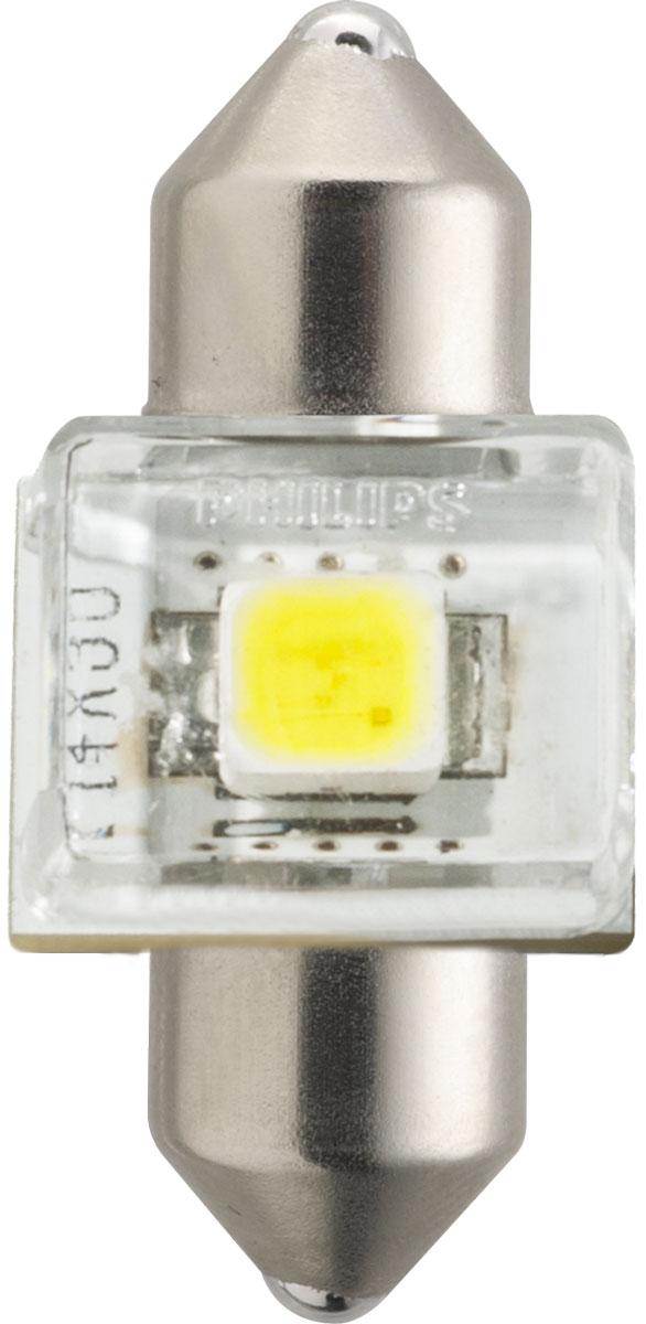 Лампа автомобильная светодиодная Philips X-tremeVision LED, для салона, цоколь C5W Fest T14 (SV8,5-30/11), 12V, 1WPANTERA SPX-2RSАвтомобильная лампа Philips X-tremeVision LED излучает дневной свет, обеспечивая улучшенноеосвещение интерьера. Лампа дает в 5 раз больше света по сравнению со стандартными лампами накаливания, высокомощный долговечный светодиод обеспечивает яркое и точное освещение салона автомобиля, не ослепляя при этом водителя. Лампы Philips X-tremeVision LED обладают 12-летним сроком службы и обладают исключительной термостойкостью и устойчивостью к вибрациям. Угол освещения: 120°.