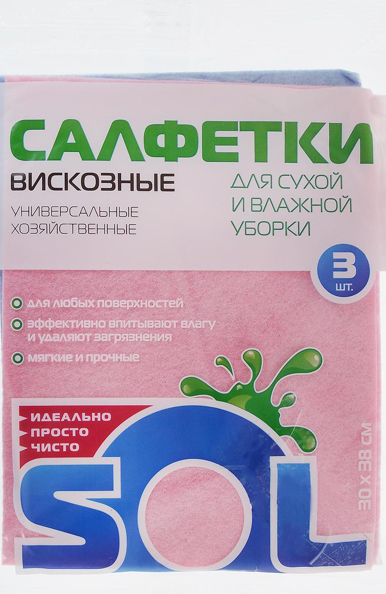 Салфетка для уборки Sol из вискозы, универсальная, цвет: розовый, голубой, 30 x 38 см, 3 штCLP446Салфетки для уборки Sol, выполненные из вискозы, предназначены для уборки и могут применяться с различными моющими средствами. Эффективно впитывают жидкость. Мягкие и прочные, легко отжимаются и быстро сохнут.Рекомендации по уходу: Для обеспечения гигиеничности уборки после применения прополоскать в теплой воде.Для продления срока службы не применять машинную стирку, не гладить и не кипятить.