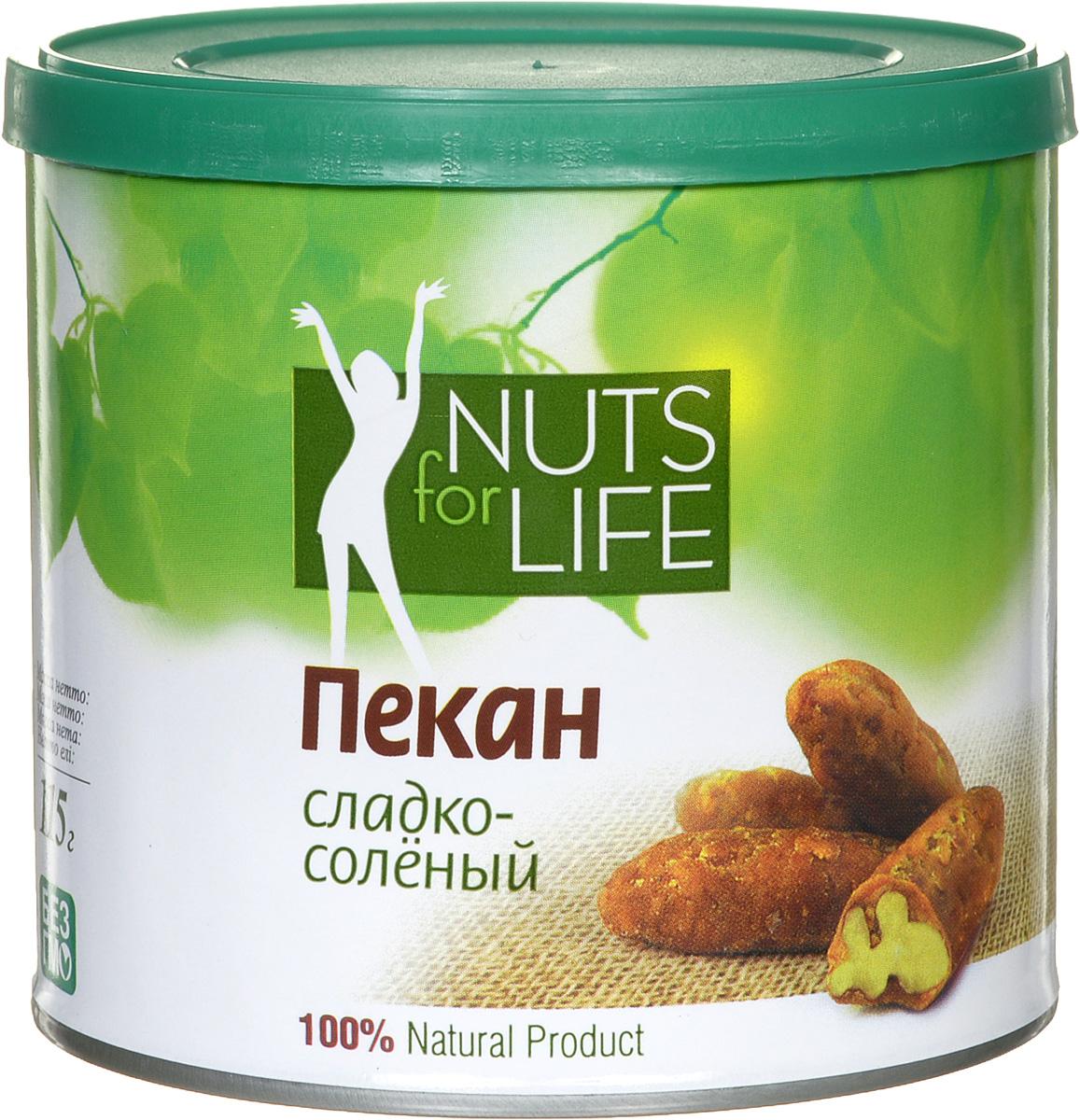 Nuts for Life Пекан обжаренный в сахаре с солью, 115 г0120710Nuts for Life Пекан сладко-соленый - потрясающе вкусный снек, а так же идеальное дополнение к любому мороженому! Просто добавьте несколько орехов в мороженое, и оно сразу станет вашим любимым!