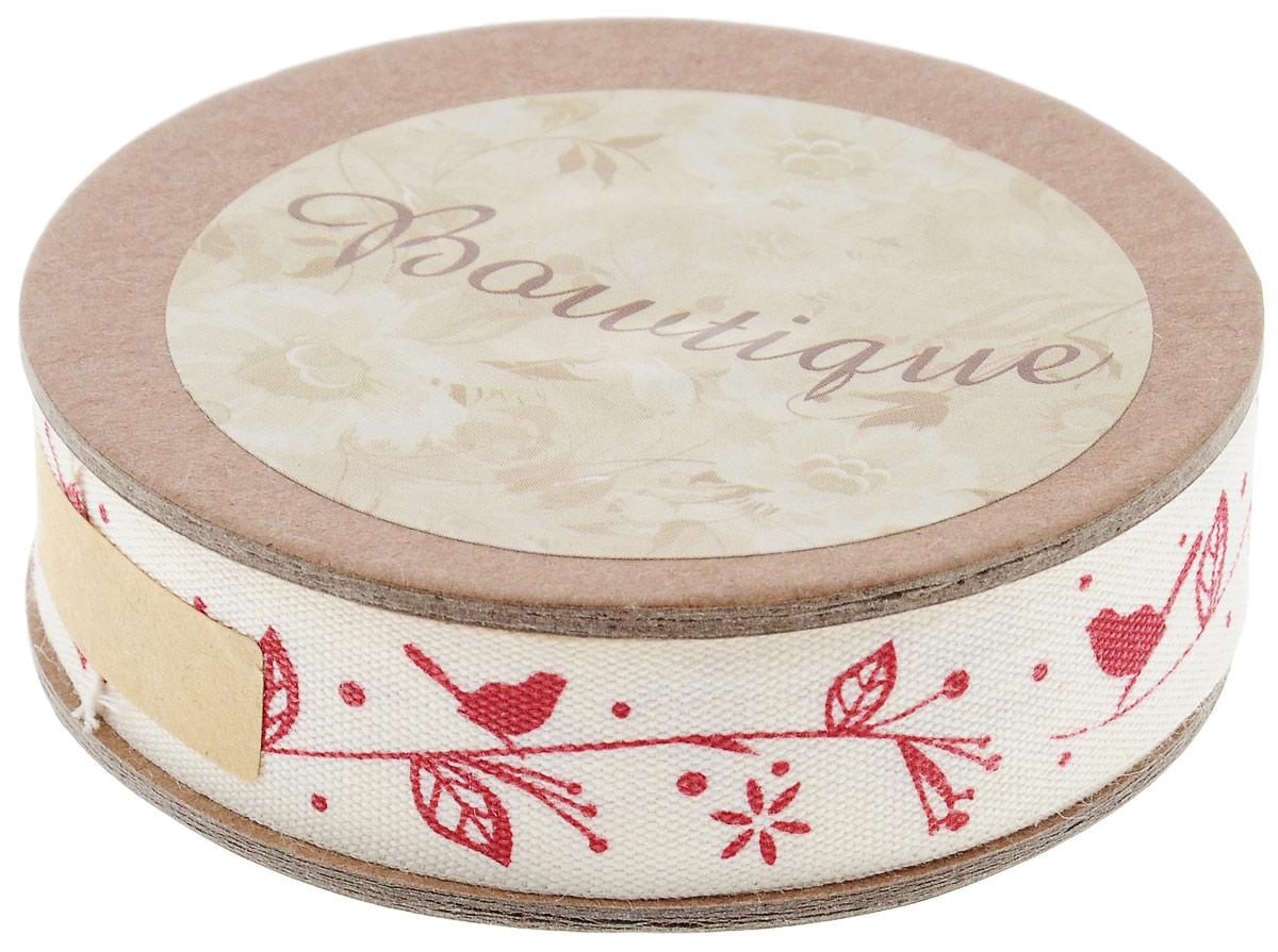 Лента хлопковая Hemline Птички на ветке, цвет: красный, молочный, 1,5 х 500 см09840-20.000.00Лента на картонной катушке Hemline Птички на ветке выполнена из хлопка. Такая лента идеально подойдет для оформления различных творческих работ, может использоваться для скрапбукинга, создания аппликаций, декора коробок и открыток, часто ее применяют при пошиве одежды, сумок, аксессуаров. Лента наивысшего качества практична в использовании. Она станет незаменимым элементом в создании вашего рукотворного шедевра.15мм X 5м