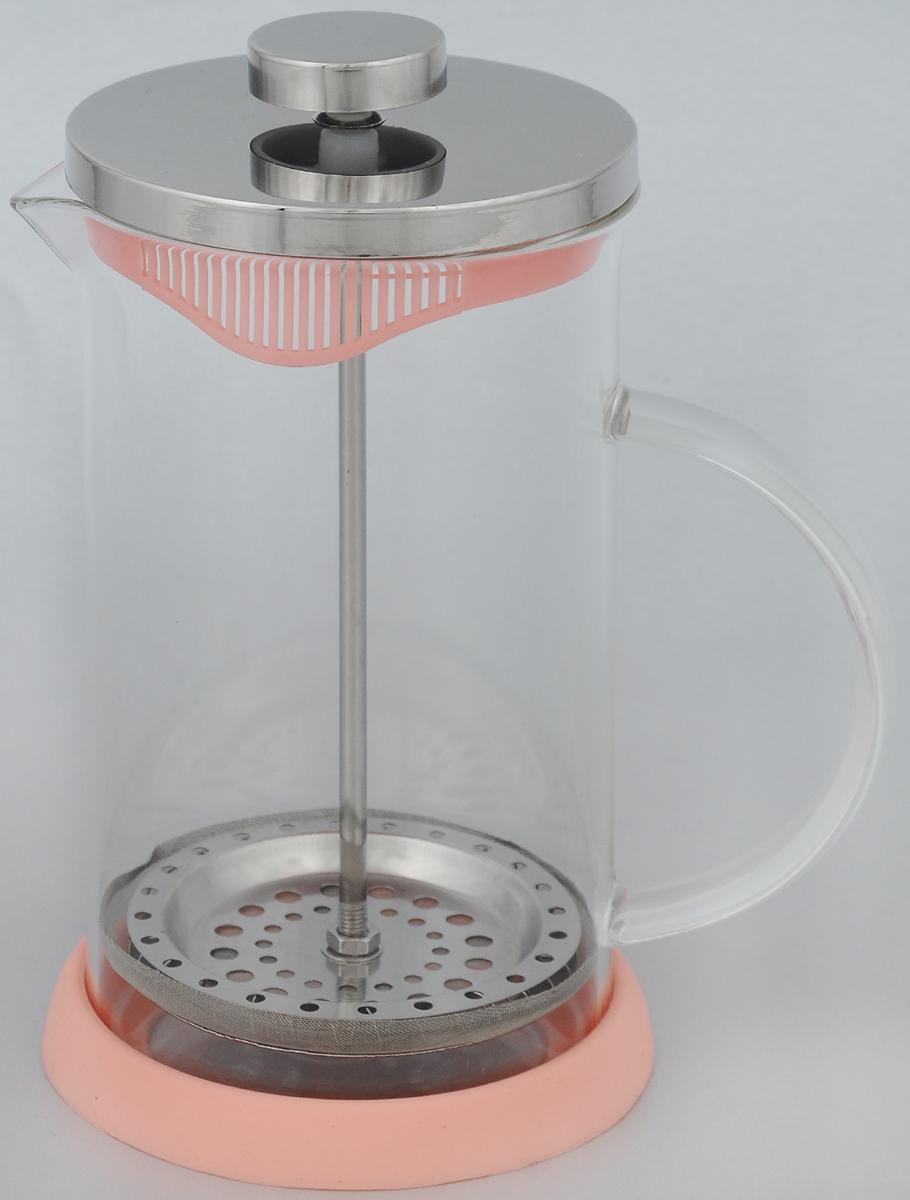 Френч-пресс Apollo Olimpique, цвет: розовый, 600 мл9631BHФренч-пресс Apollo Olimpique изготовлен из высококачественной нержавеющей стали и жаропрочного стекла. Фильтр-поршень из нержавеющей стали выполнен по технологии press-up для обеспечения равномерной циркуляции воды. Засыпая чайную заварку или кофе под фильтр, заливая горячей водой, вы получаете ароматный напиток с оптимальной крепостью и насыщенностью. Остановить процесс заваривания легко, для этого нужно просто опустить поршень, и все уйдет вниз, оставляя вверху напиток, готовый к употреблению.Френч-пресс Apollo позволит быстро и просто приготовить свежий и ароматный кофе или чай.Не рекомендуется мыть в посудомоечной машине.Объём: 600 мл.