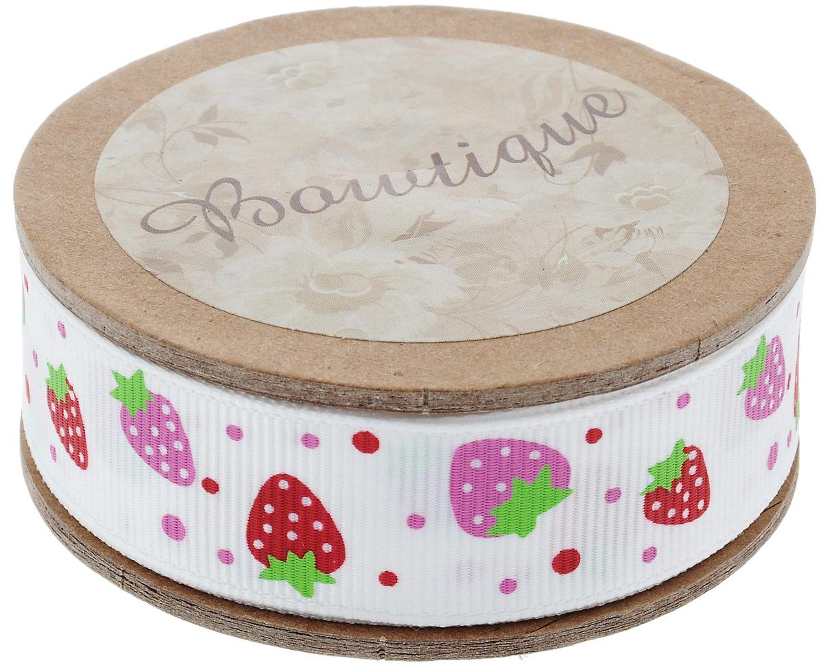 Лента репсовая Hemline Клубнички, цвет: молочный, красный, розовый, 2 х 500 смNLED-454-9W-BKЛента на картонной катушке Hemline Клубнички выполнена из полиэстера. Такая лента идеально подойдет для оформления различных творческих работ, может использоваться для скрапбукинга, создания аппликаций, декора коробок и открыток, часто ее применяют при пошиве одежды, сумок, аксессуаров. Лента наивысшего качества практична в использовании. Она станет незаменимым элементом в создании вашего рукотворного шедевра.