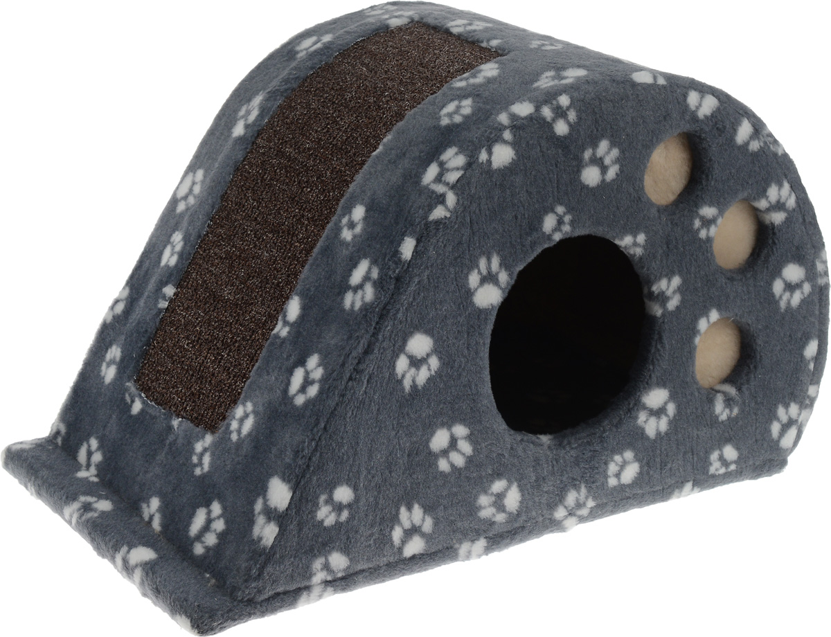 Игровой комплекс для кошек Меридиан  Капля , с домиком и когтеточкой, цвет: серый, белый, коричневый, 62 х 34 х 35 см