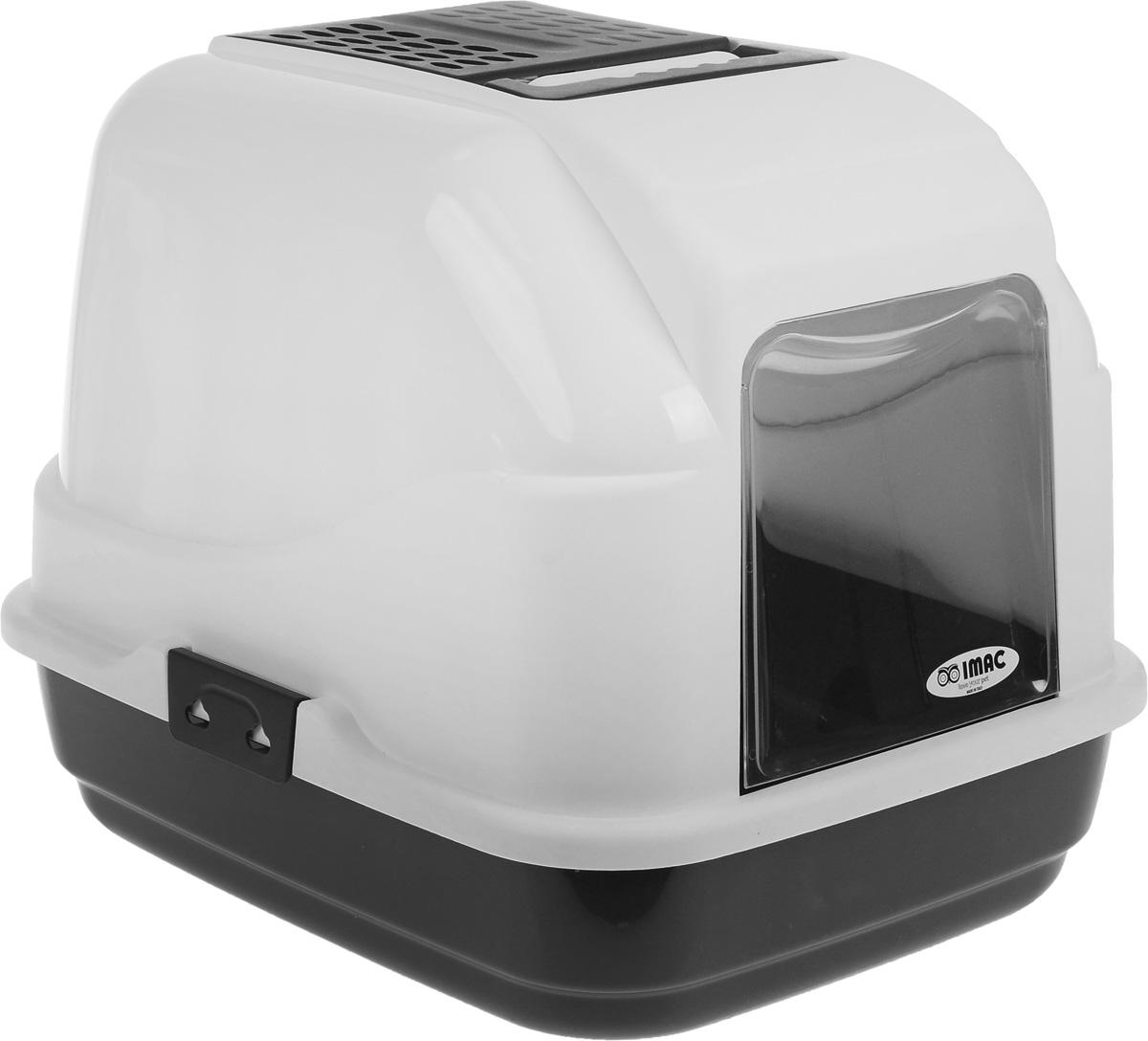 Туалет для кошек IMAC Easy Cat, закрытый, цвет: белый, черный, 50 х 40 х 40 см0120710Закрытый туалет для кошек IMAC Easy Cat выполнен из высококачественного пластика. Он довольно вместительный и напоминает домик. Туалет оснащен прозрачной открывающейся дверцей, сменным угольным фильтром, совком и удобной ручкой для переноски. Такой туалет избавит ваш дом от неприятного запаха и разбросанных повсюду частичек наполнителя. Кошка в таком туалете будет чувствовать себя увереннее, ведь в этом укромном уголке ее никто не увидит. Кроме того, яркий дизайн с легкостью впишется в интерьер вашего дома. Туалет легко открывается для чистки благодаря практичным защелкам по бокам.