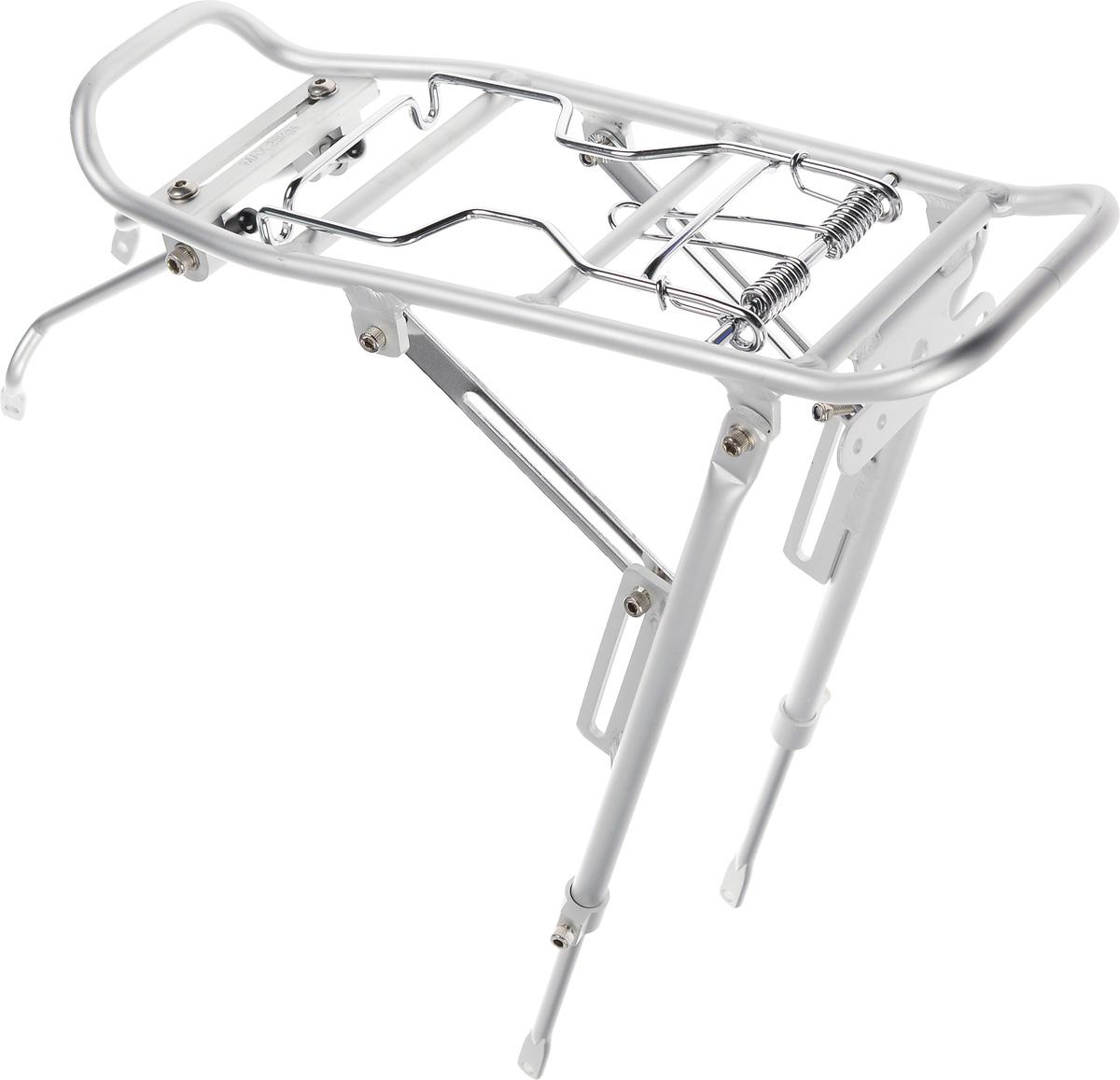 Багажник Massload, цвет: матовый серебристый. CL-522-1ГризлиВелосипедный багажник Massload выполнен из высококачественного легкого металла. Изделие оснащено прижимным механизмом. Подходит для велосипедов с диаметром колеса от 24 до 28. На багажнике имеется площадка для крепления фонаря.Крепеж в комплекте.Максимальная нагрузка: 25 кг.Размер рабочей части багажника: 39 х 14 см.