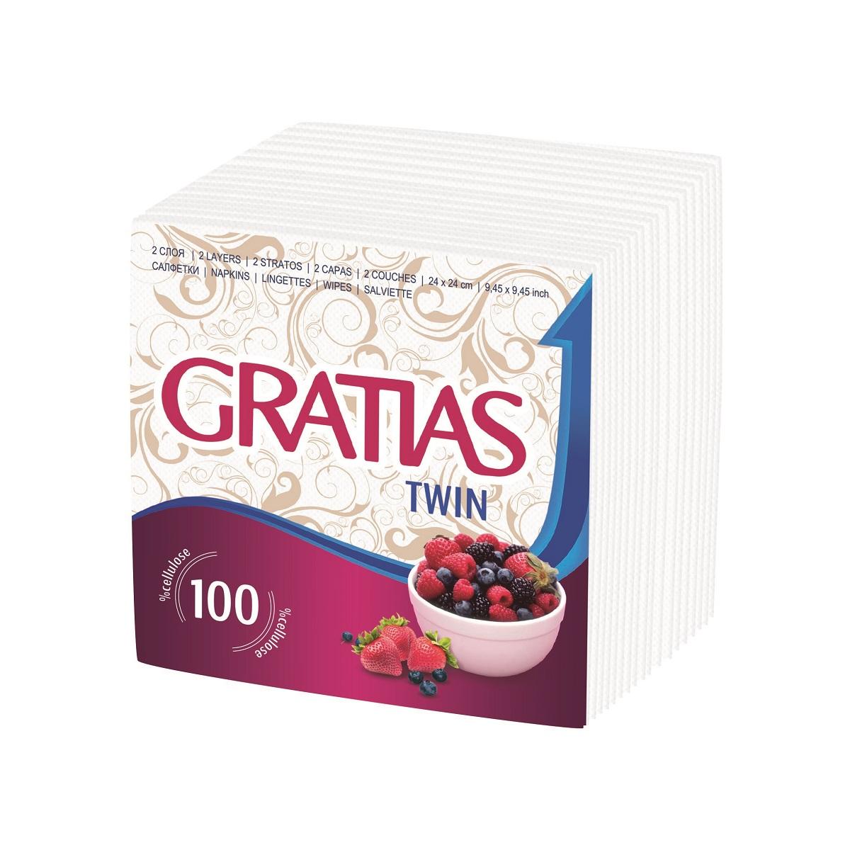 Салфетки бумажные Gratias Twin, двухслойные, 24 х 24 см, 100 штTF-14AU-12Двухслойные бумажные салфетки Gratias Twin, выполненные из натуральной целлюлозы, станут отличным дополнением праздничного стола. Они отличаются необычной мягкостью и прочностью. Салфетки красиво оформят сервировку стола. Размер салфеток: 24 х 24 см.