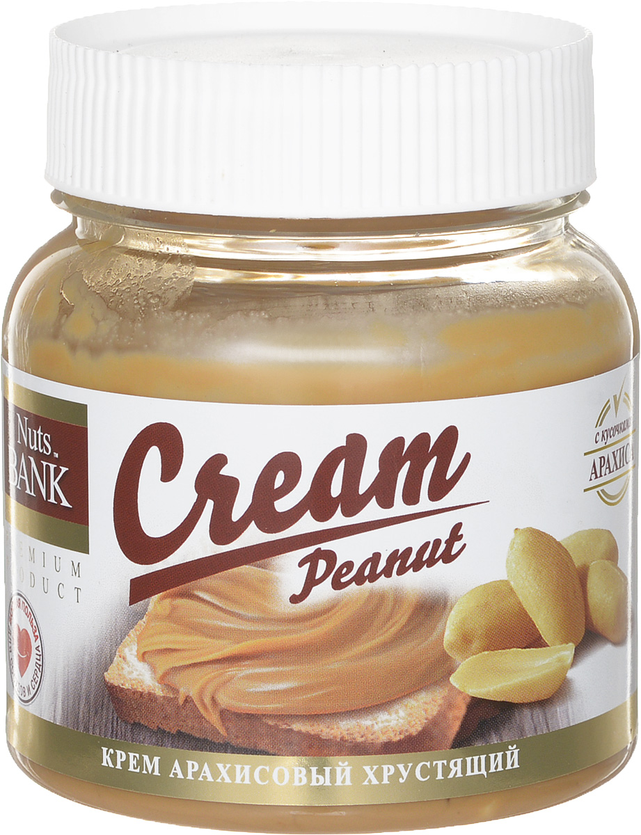 Nuts Bank Крем арахисовый с кусочками, 250 гU921446Один из видов арахисовой пасты - популярная хрустящая паста, в которую уже после приготовления добавляют сахар и мелко порезанные кусочки арахиса. По традиции арахисовую пасту намазывают на хлеб или тост и употребляют на завтрак вместе с молоком, кофе или чаем. Считается, что польза арахисовой пасты заключается также в повышении тестостерона, который помогает сжигать жир и наращивать мышечные ткани. Большое количество протеина является альтернативой мясу при вегетарианском образе жизни.