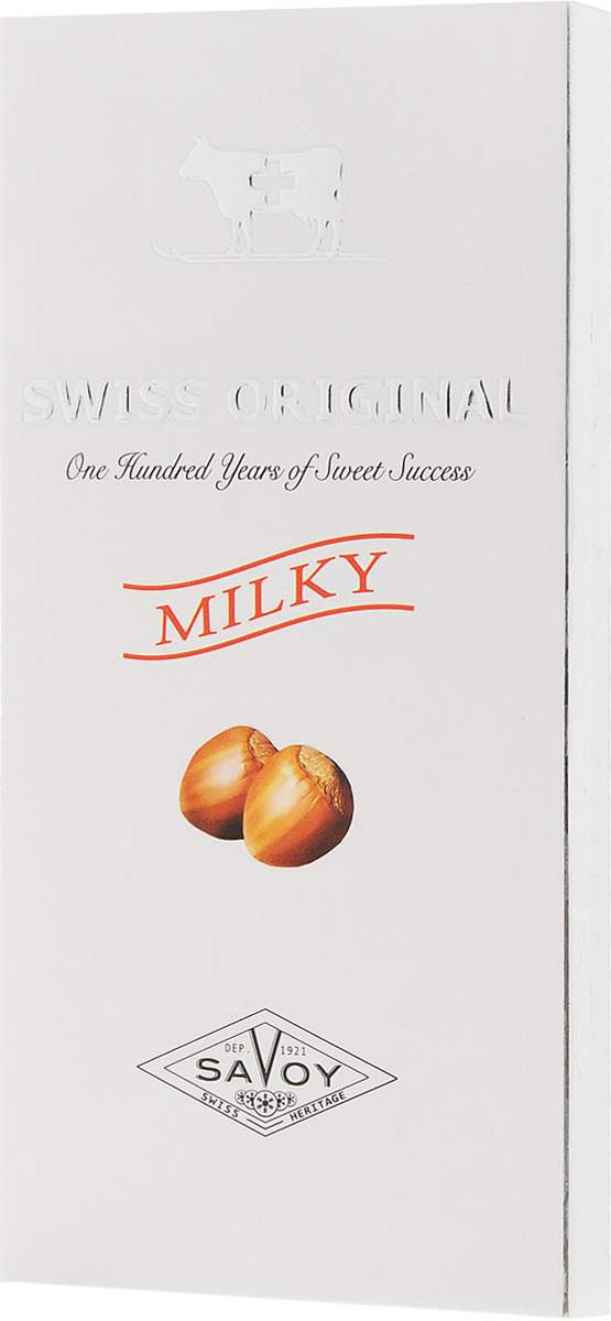 Swiss Original молочный шоколад с дробленым фундуком, 100 г0120710Благородный сорт какао из Папуа - Новой Гвинеи позволяет создать нежнейший молочный шоколад со сложным сливочно-фруктовым букетом, в котором отчетливо выделяется нотка банана. Хрустящие лесные орешки делают сливочный вкус еще более богатым.