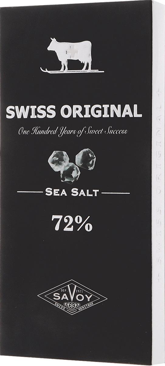 Swiss Original горький шоколад с морской солью, 100 г0120710Необычный пикантный вкус шоколаду Swiss Original, приготовленному из отборных какао-бобов с Берега Слоновой Кости, придают крупинки морской соли, привезенной с месторождения в Южной Америке.