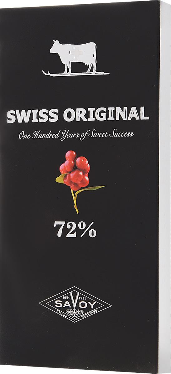 Swiss Original горький шоколад с кусочками клюквы, 100 г0120710Сильный фруктовый букет какао-бобов из Венесуэлы и мягкая кислая нота дикой альпийской клюквы сливаются в благородный вкус горького шоколада.