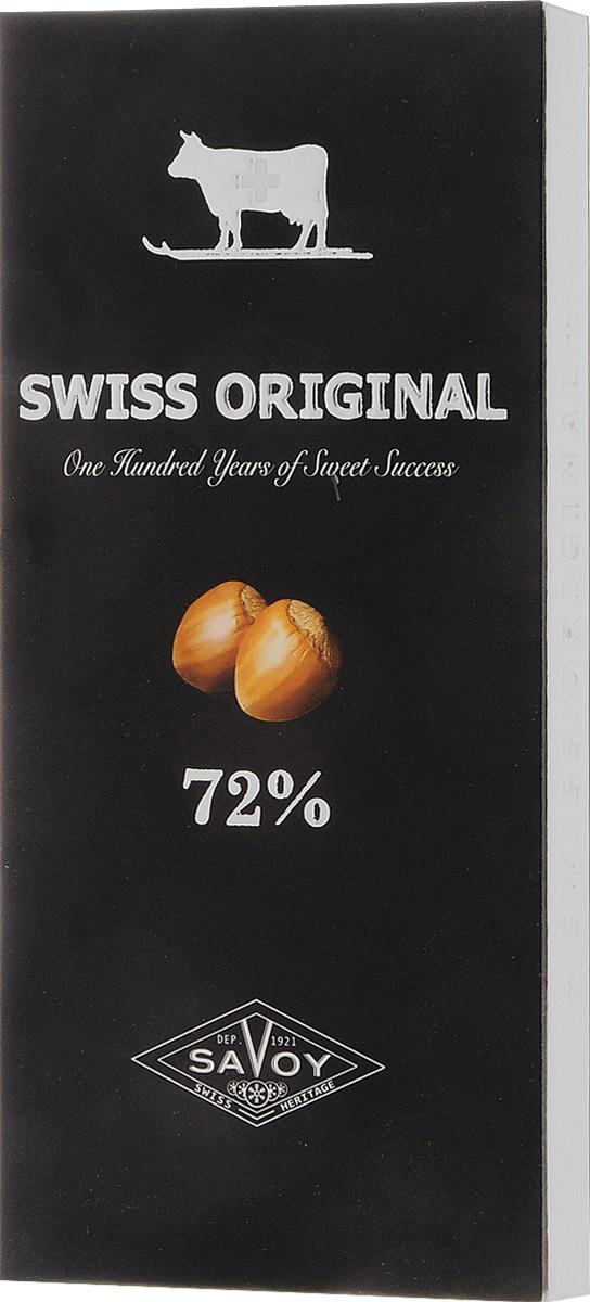 Swiss Original горький шоколад с дробленым фундуком, 100 г0120710Шоколад Swiss Original умеренной горькости, из смеси латиноамериканских и азиатских какао-бобов. Характерные нотки черники и лакрицы гармонично сочетаются с ореховой сладостью фундука.