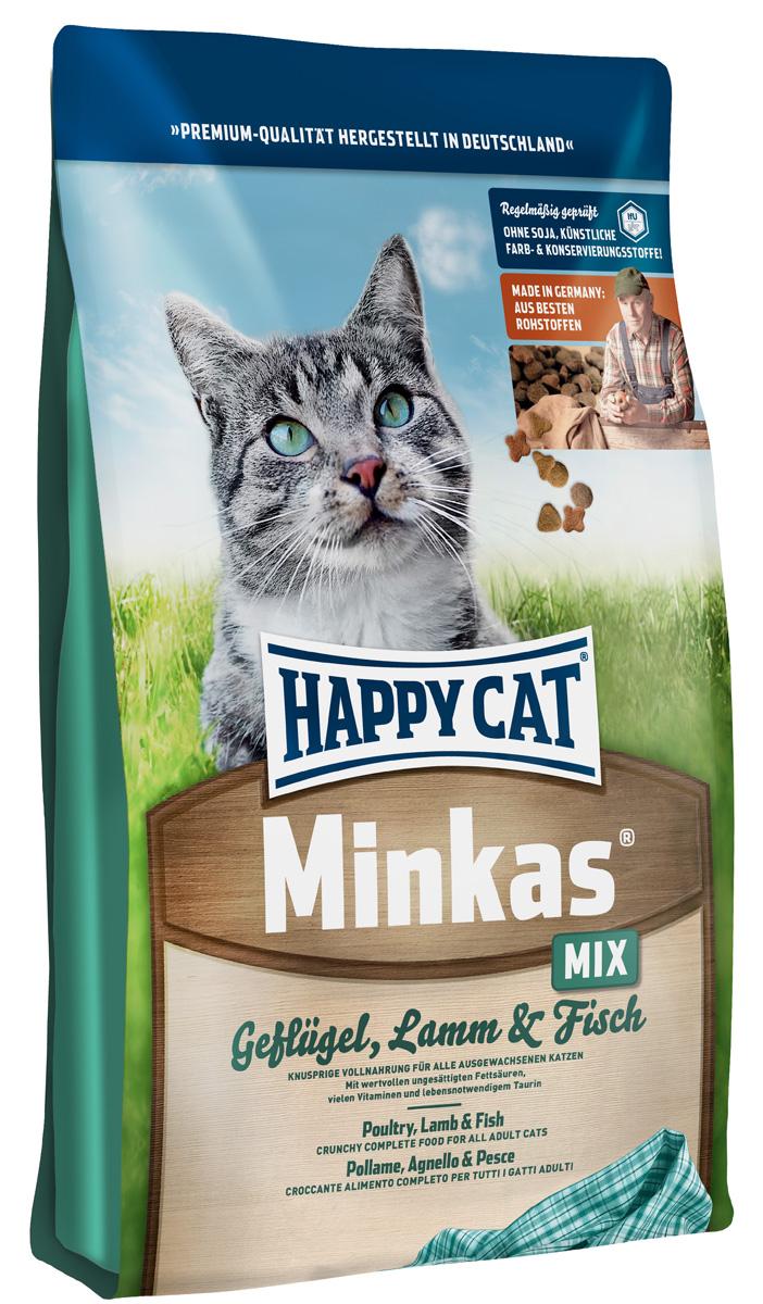 Корм сухой Happy Cat Minkas Mix для взрослых кошек, с птицей, ягненком и рыбой, 10 кг0120710Happy Cat Minkas Mix - это полноценный базовый корм для взрослых кошек. Благодаря ценным белкам из мяса птицы, ягненка и рыбы, отсутствию сои и высококачественным хрустящим злаковым составляющим этот продукт нравится кошкам и легко усваивается.Состав: птица (24,5%), пшеничная мука, пшеница, кукуруза, птичий жир (5%), рыба (2,5%), ягненок (2,5%), картофельный белок, свекловичный жом (без сахара), гемоглобин, масло из семян подсолнечника, яблочная пульпа. Аналитические составляющие: протеин - 30%, жир - 12%, клетчатка - 2,5%, зола - 6,5%. Добавки: витамин А - 15000 МЕ, Витамин D3 - 1250 МЕ, таурин - 1000 МЕ. Товар сертифицирован.