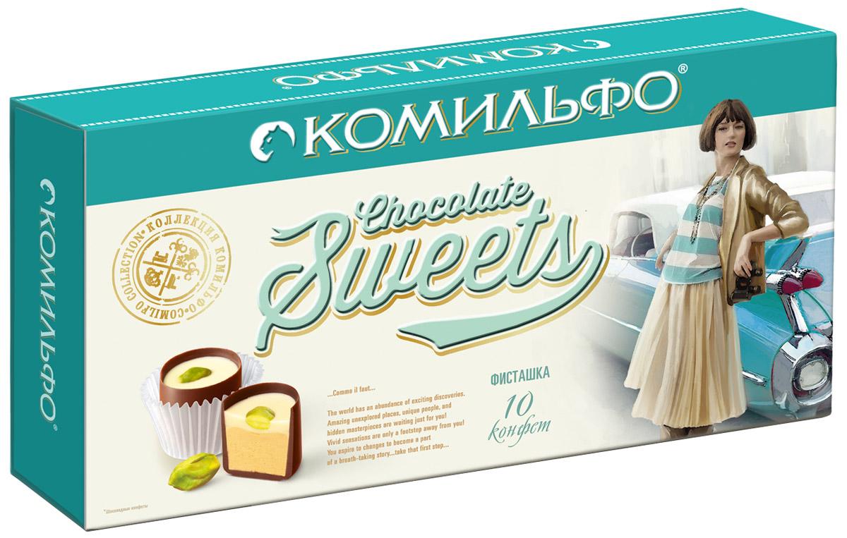 Комильфо шоколадные конфеты фисташка, 116 г0120710Восхитительная фисташковая начинка словно теплый весенний ветер, уносящий на самую вершину, где вас ожидает цельный фисташковый орешек.Каждая конфета Комильфо - это неповторимое сочетание нежной текстуры, нескольких восхитительных начинок в обрамлении превосходного шоколада и акцента в виде изысканного украшения. Уникальные конфеты словно изготовлены вручную и упакованы в премиальную, женственную, подарочную коробку. Отличный повод поделиться с близкими и побаловать себя.Уважаемые клиенты! Обращаем ваше внимание, что полный перечень состава продукта представлен на дополнительном изображении.