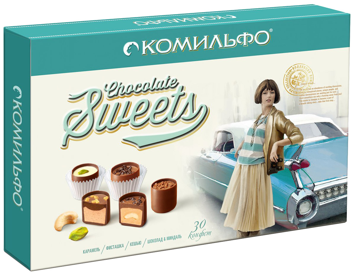 Комильфо шоколадные конфеты ассорти, 348 г52487Каждая конфета Комильфо - это неповторимое сочетание нежной текстуры, нескольких восхитительных начинок в обрамлении превосходного шоколада и акцента в виде изысканного украшения. Уникальные конфеты словно изготовлены вручную и упакованы в премиальную, женственную, подарочную коробку. Прекрасный подарок для ваших близких.В наборе четыре вида конфет - кешью, карамель, фисташка, шоколад и миндаль.Уважаемые клиенты! Обращаем ваше внимание, что полный перечень состава продукта представлен на дополнительном изображении.