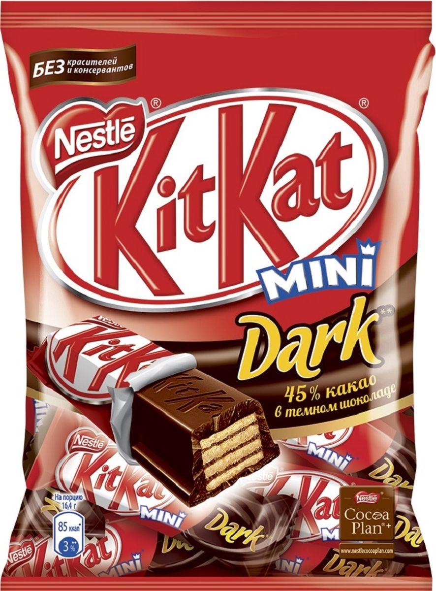 KitKat Mini темный шоколад с хрустящей вафлей, 185 г3830042990130Мини формат батончика KitKat с хрустящей вафлей в темном шоколаде. Удобный формат к чаю, чтобы взять с собой в дорогу. Шоколад в умеренном количестве может быть частью сбалансированного рациона.Уважаемые клиенты! Обращаем ваше внимание, что полный перечень состава продукта представлен на дополнительном изображении.