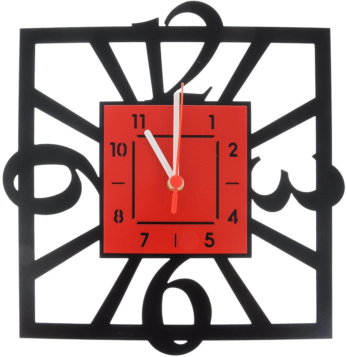 Часы настенные Miolla Квадратные, цвет: черный, красный97094Оригинальные настенные часы Miolla квадратной формы выполнены из стали. Часы имеют три стрелки - часовую, минутную и секундную и циферблат с цифрами. Необычное дизайнерское решение и качество исполнения придутся по вкусу каждому.Оформите свой дом таким интерьерным аксессуаром или преподнесите его в качестве презента друзьям, и они оценят ваш оригинальный вкус и неординарность подарка.Размер часов: 29 х 30 см.Часы работают от 1 батарейки типа АА напряжением 1,5 В (в комплект не входит).