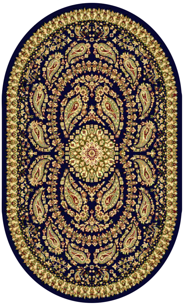 Ковер Kamalak tekstil, овальный, цвет: синий, 60 x 110 см. УК-0166ES-412Ковры-паласы выполнены из полипропилена. Ковры обладают хорошими показателями теплостойкости и шумоизоляции. Являются гиппоалергенными. За счет невысокого ворса ковры легко чистить. Вам придется по душе широкая гамма цветов и возможность гармонично оформить интерьер. Практичный и устойчивый к износу ворс - от постоянного хождения не истирается, не накапливает статическое электричество. Структура волокна в полипропиленовых моделях гладкая, поэтому грязь не может выесться, на ворсе она скапливается с трудом. Полипропилен не впитывает влагу, отталкивает водянистые пятна. Уход: Самый простой способ избавить изделие от грязи – пропылесосить его с обеих сторон (лицевой и изнаночной).Влажная уборка с применением шампуней и моющих средств не противопоказана. Если шерсти и шёлку универсальные чистящие составы не подходят, то для синтетики они придутся в самый раз.Хранить их нужно рулоном, не складывая «салфеткой».При надлежащем уходе синтетический ковёр прослужит долго, не утратив ни яркости узора, ни блеска ворса, ни его упругости.