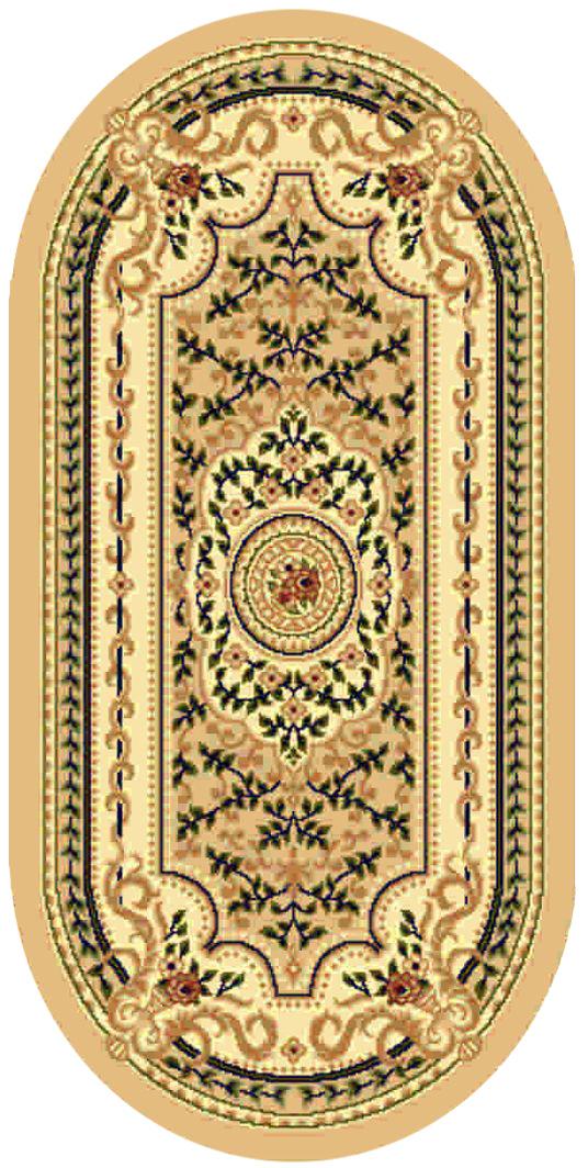 Ковер Kamalak tekstil, овальный, 100 x 150 см. УК-0395ES-412Ковер Kamalak Tekstil изготовлен из прочного синтетического материала heat-set, улучшенного варианта полипропилена (эта нить получается в результате его дополнительной обработки). Полипропилен износостоек, нетоксичен, не впитывает влагу, не провоцирует аллергию. Структура волокна в полипропиленовых коврах гладкая, поэтому грязь не будет въедаться и скапливаться на ворсе. Практичный и износоустойчивый ворс не истирается и не накапливает статическое электричество. Ковер обладает хорошими показателями теплостойкости и шумоизоляции. Оригинальный рисунок позволит гармонично оформить интерьер комнаты, гостиной или прихожей. За счет невысокого ворса ковер легко чистить. При надлежащем уходе синтетический ковер прослужит долго, не утратив ни яркости узора, ни блеска ворса, ни упругости. Самый простой способ избавить изделие от грязи - пропылесосить его с обеих сторон (лицевой и изнаночной). Влажная уборка с применением шампуней и моющих средств не противопоказана. Хранить рекомендуется в свернутом рулоном виде.