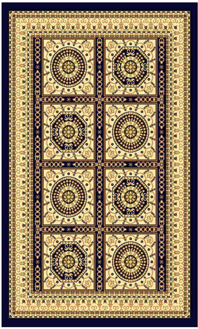 Ковер Kamalak tekstil, прямоугольный, цвет: синий, 100 x 150 см. УК-0023ES-412Ковры-паласы выполнены из полипропилена. Ковры обладают хорошими показателями теплостойкости и шумоизоляции. Являются гиппоалергенными. За счет невысокого ворса ковры легко чистить. Вам придется по душе широкая гамма цветов и возможность гармонично оформить интерьер. Практичный и устойчивый к износу ворс - от постоянного хождения не истирается, не накапливает статическое электричество. Структура волокна в полипропиленовых моделях гладкая, поэтому грязь не может выесться, на ворсе она скапливается с трудом. Полипропилен не впитывает влагу, отталкивает водянистые пятна. Уход: Самый простой способ избавить изделие от грязи – пропылесосить его с обеих сторон (лицевой и изнаночной).Влажная уборка с применением шампуней и моющих средств не противопоказана. Если шерсти и шёлку универсальные чистящие составы не подходят, то для синтетики они придутся в самый раз.Хранить их нужно рулоном, не складывая «салфеткой».При надлежащем уходе синтетический ковёр прослужит долго, не утратив ни яркости узора, ни блеска ворса, ни его упругости.