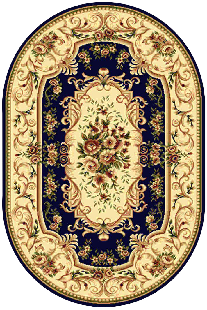 Ковер Kamalak tekstil, овальный, цвет: синий, 100 x 150 см. УК-0362ES-412Ковры-паласы выполнены из полипропилена. Ковры обладают хорошими показателями теплостойкости и шумоизоляции. Являются гиппоалергенными. За счет невысокого ворса ковры легко чистить. Вам придется по душе широкая гамма цветов и возможность гармонично оформить интерьер. Практичный и устойчивый к износу ворс - от постоянного хождения не истирается, не накапливает статическое электричество. Структура волокна в полипропиленовых моделях гладкая, поэтому грязь не может выесться, на ворсе она скапливается с трудом. Полипропилен не впитывает влагу, отталкивает водянистые пятна. Уход: Самый простой способ избавить изделие от грязи – пропылесосить его с обеих сторон (лицевой и изнаночной).Влажная уборка с применением шампуней и моющих средств не противопоказана. Если шерсти и шёлку универсальные чистящие составы не подходят, то для синтетики они придутся в самый раз.Хранить их нужно рулоном, не складывая «салфеткой».При надлежащем уходе синтетический ковёр прослужит долго, не утратив ни яркости узора, ни блеска ворса, ни его упругости.