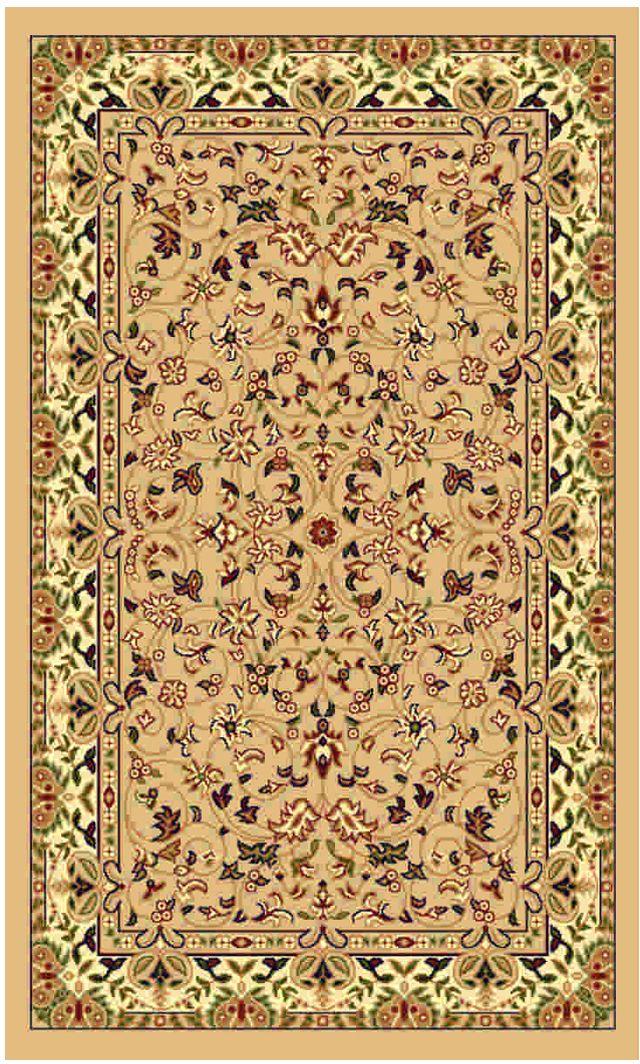 Ковер Kamalak tekstil, прямоугольный, цвет: бежевый, 60 x 110 см. УК-0159ES-412Ковры-паласы выполнены из полипропилена. Ковры обладают хорошими показателями теплостойкости и шумоизоляции. Являются гиппоалергенными. За счет невысокого ворса ковры легко чистить. Вам придется по душе широкая гамма цветов и возможность гармонично оформить интерьер. Практичный и устойчивый к износу ворс - от постоянного хождения не истирается, не накапливает статическое электричество. Структура волокна в полипропиленовых моделях гладкая, поэтому грязь не может выесться, на ворсе она скапливается с трудом. Полипропилен не впитывает влагу, отталкивает водянистые пятна. Уход: Самый простой способ избавить изделие от грязи – пропылесосить его с обеих сторон (лицевой и изнаночной).Влажная уборка с применением шампуней и моющих средств не противопоказана. Если шерсти и шёлку универсальные чистящие составы не подходят, то для синтетики они придутся в самый раз.Хранить их нужно рулоном, не складывая «салфеткой».При надлежащем уходе синтетический ковёр прослужит долго, не утратив ни яркости узора, ни блеска ворса, ни его упругости.