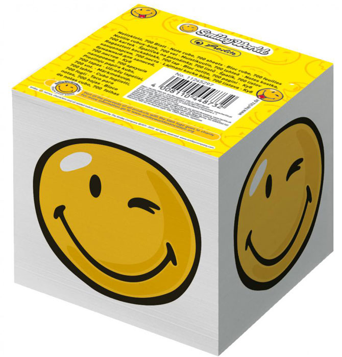 Herlitz Бумага для заметок Smiley World 700 листов7335Бумага для заметок Herlitz Smiley World - это удобное и практическое решение для быстрой записи информации в домашних или офисных условиях.В блоке 700 листов белой бумаги. Он выполнен в виде куба с изображением подмигивающего смайла. Бумага для заметок Herlitz Smiley World займет свое место среди ваших канцелярских принадлежностей.