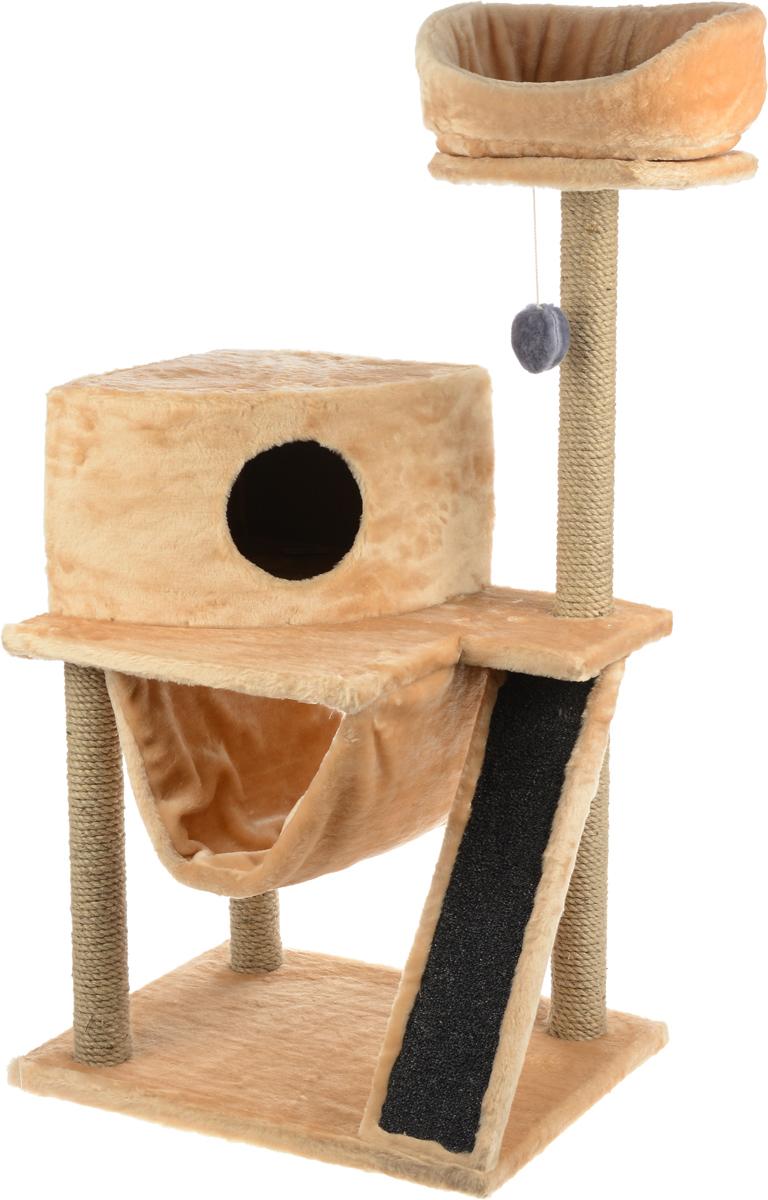 Игровой комплекс для кошек ЗооМарк Мурка, цвет: серый, песочный, 60 х 45 х 120 см0120710Игровой комплекс для кошек ЗооМарк Мурка выполнен из высококачественного дерева и обтянут искусственным мехом. Изделие предназначено для кошек. Комплекс имеет 3 яруса. Ваш домашний питомец будет с удовольствием точить когти о специальные столбики, изготовленные из джута. Также точить когти поможет площадка, оснащенная вставкой из ковролина. А отдохнуть он сможет либо на полках, либо домике или гамаке. На одной из полок расположена игрушка, которая еще сильнее привлечет внимание питомца.Общий размер: 60 х 45 х 120 см.Размер домика: 37 х 37 х 25 см.Диаметр верхней полки: 30 см.Уважаемые покупатели!Обращаем ваше внимание на тот факт, что размеры могут незначительно отличаться в пределах 3-4 см в высоту и ширину.