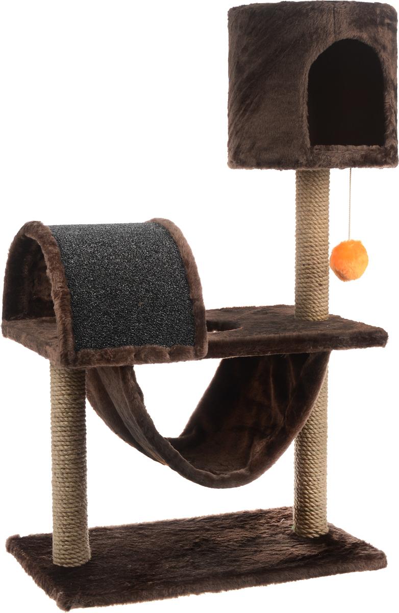 Игровой комплекс для кошек ЗооМарк Кузя, цвет: коричневый, серый, оранжевый, 69 х 37 х 102 см142_коричневый, серыйИгровой комплекс для кошек ЗооМарк Кузя прекрасно подойдет для животного, которое длительное время остается одно дома. Обеспечивая уютное место для сна и отдыха, комплекс является отличной игровой площадкой для развлечения скучающего животного. Комплекс изготовлен из дерева и обтянут искусственным мехом. Когтеточка из ковролина на длительное время отвлечет вашу кошку от мягкой мебели и обоев в доме, а подвесная игрушка развлечет питомца. Комплекс имеет несколько ярусов и домик, в котором ваш питомец сможет отдохнуть после игр.Общий размер комплекса: 69 х 37 х 102 см.Размер домика: 31 х 31 х 29 см.