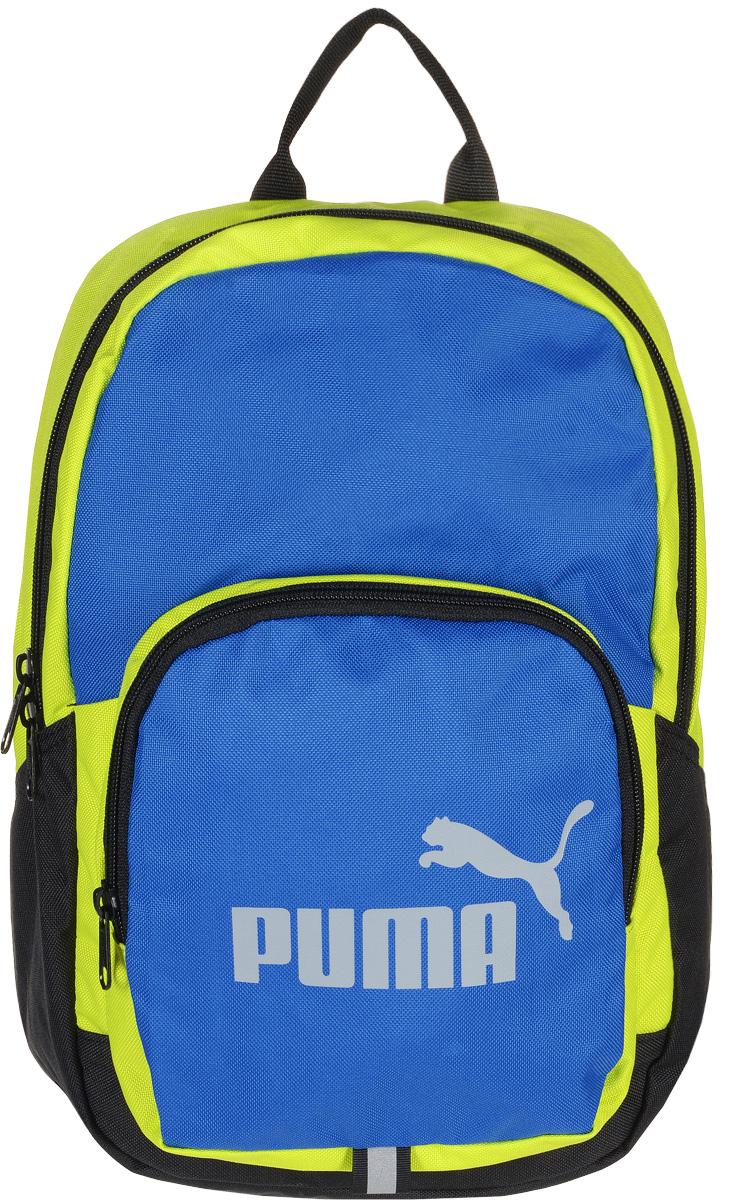 Рюкзак Puma Phase Small Backpack, цвет: желтый, голубой. 07410401101225Яркий функциональный рюкзак Phase Small Backpack от Puma создан для любителей активного образа жизни. Модель выполнена из полиэстера.Рюкзак имеет главное отделение на молнии, открывающейся с двух сторон, карман спереди на застежке-молнии, износостойкую подкладку из полиэстера с изнанкой из полиуретана и наплечные лямки закругленной формы регулируемой длины с мягкой подложкой. Лямки снабжены петлями из светоотражающего материала с символикой Puma, а сам рюкзак - накладкой из светоотражающего материала с фирменной символикой спереди и ручкой для переноски из лямочной ленты. Обращенная к спине часть рюкзака имеет мягкую подложку. Основанный в 1948 году бренд Puma стал выбором многих героев мирового спорта. Дизайн Puma сосредоточен на стиле и функциональности моделей, поэтому коллекции брендовой одежды и обуви сочетают современный стиль с инновационными спортивными технологиями.