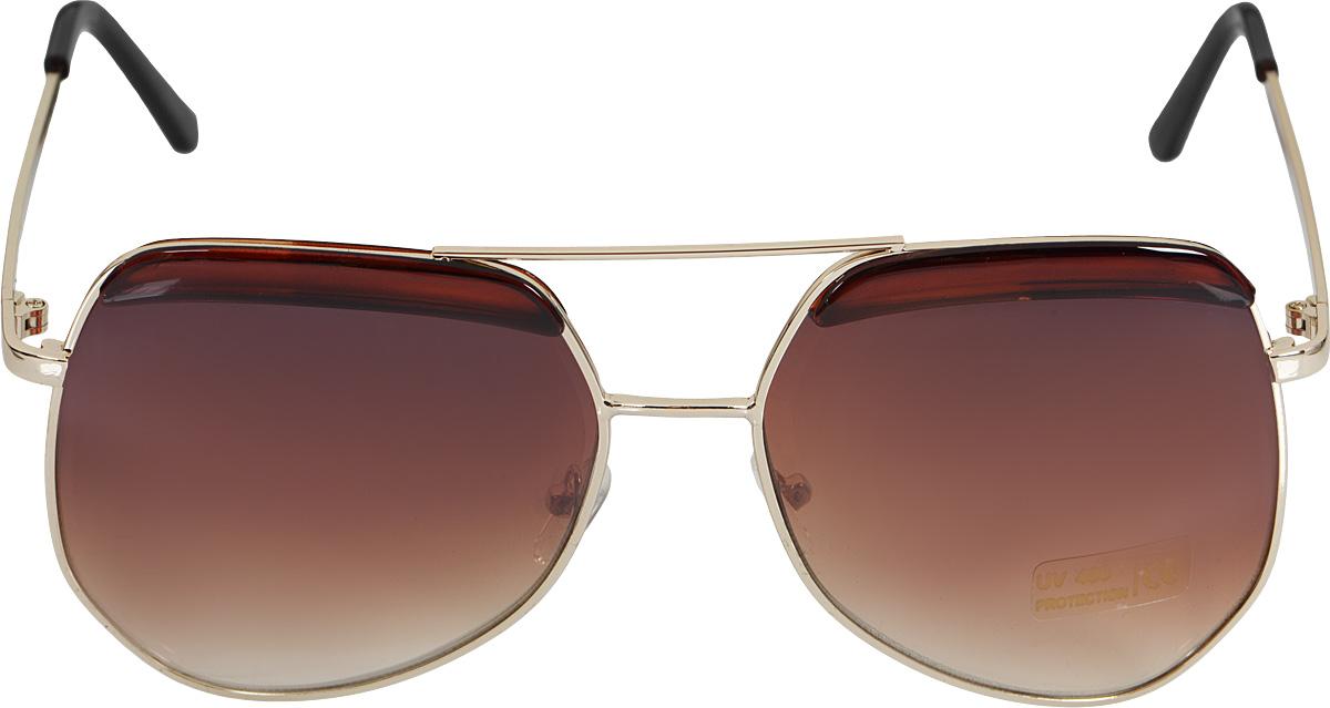 Очки солнцезащитные Kawaii Factory Skyway, цвет: коричневый. KW010-000130BM8434-58AEСолнцезащитные очки Skyway от Kawaii Factory модели авиатор выполнены из металла и высококачественного пластика. Используемый пластик не искажает изображение, не подвержен нагреванию и вредному воздействию солнечных лучей, защищает от бликов, повышает контрастность и четкость изображения, снижает усталость глаз и обеспечивает отличную видимость. Оправа очков легкая, прилегающей формы, дополнена носоупорами и поэтому не создает никакого дискомфорта.Такие очки защитят глаза от ультрафиолетовых лучей, подчеркнут вашу индивидуальность и сделают ваш образ завершенным. В комплекте имеется стильный черный чехол, который имеет жесткую конструкцию и закрывается на застежку-молнию.