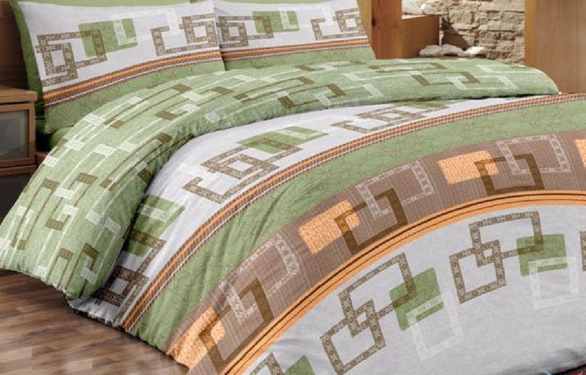 """Комплект белья Liya Home Collection """"Восток"""", 2-спальный с евро простыней, наволочки 70x70, цвет: светло-зеленый"""