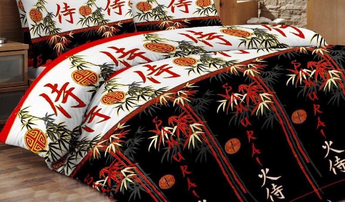Комплект белья Liya Home Collection Самурай, 2-спальный, наволочки 70x70, цвет: черный, красный, белый0000120001847Комплект белья Liya Home Collection Самурай состоит из пододеяльника, простыни и двух наволочек. Белье выполнено из ранфорса (70% хлопок, 30% полиэстер). Ранфорс - это ткань, которая по своим техническим и тактильным свойствам значительно лучше бязи и служит более недорогой альтернативой сатину. Ранфорс легко стирается, быстро сохнет, гигроскопичен, гигиеничен, это натуральный качественный материал. Сочетание хлопка с полиэстером лишает ткань присущих хлопку недостатков: белье не выгорает, не растягивается, дольше служит. Мягкость и нежность материала создает чувство комфорта и защищенности.