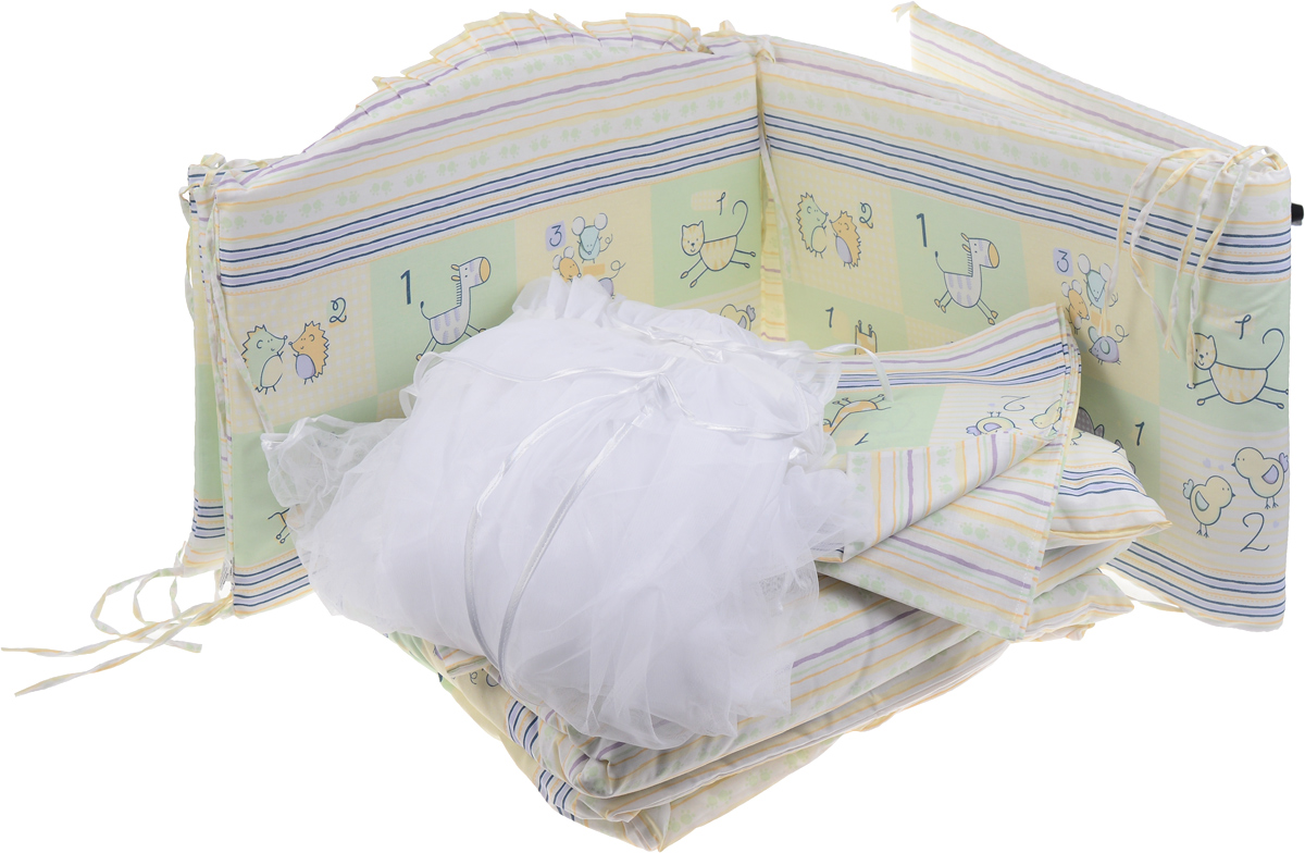 Сонный Гномик Комплект в кроватку Считалочка цвет салатовый 7 предметовА00319Комплект в кроватку Сонный Гномик Считалочка прекрасно подойдет для кроватки вашего малыша, добавит комнате уюта и согреет в прохладные дни.В качестве материала верха использован натуральный хлопок безупречной выделки с авторским рисунком, мягкая ткань не раздражает чувствительную и нежную кожу ребенка и хорошо вентилируется. Деликатные швы рассчитаны на прикосновение к нежной коже ребенка.Бортик, подушка и одеяло наполнены холлконом - экологически безопасным гипоаллергенным синтетическим материалом, обладающим высокими теплозащитными свойствами.Элементы комплекта оформлены изображениями забавных животных.Комплект состоит из бортика с несъемными чехлами, балдахина с сеткой, подушки, одеяла, пододеяльника, наволочки и простыни.Для производства изделий Сонный гномик используются только высококачественные ткани ведущих мировых производителей. Благодаря особым технологиям сбора и переработки хлопка сохраняется естественная природная структура волокна.