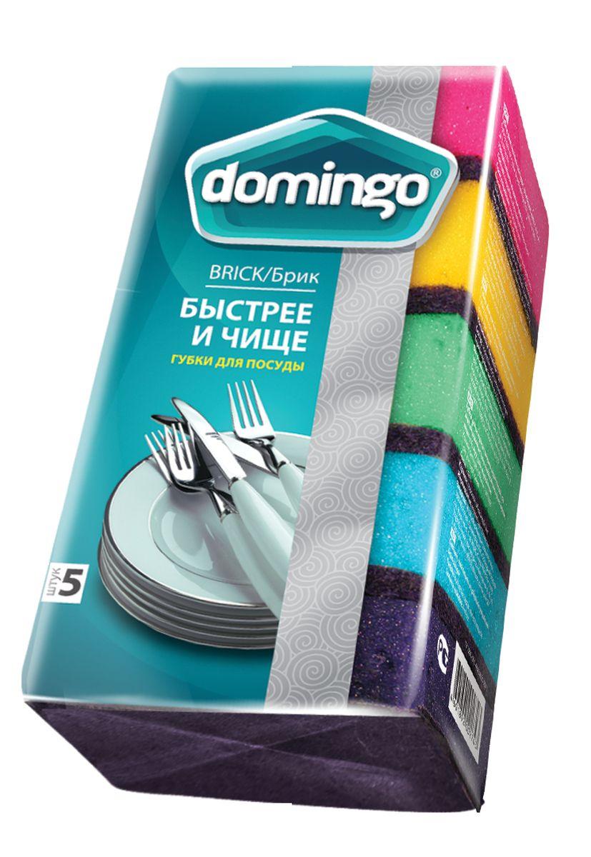Губка для мытья посуды Доминго, с абразивным слоем, 70 х 94 х 37 см, 5 шт4606400105459Губка Доминго предназначена для мытья посуды, очистки раковин, плит и других поверхностей на кухне. Мягкий слой деликатно очищает, а абразивный слой позволяет справиться даже с трудновыводимыми загрязнениями.Размер губки: 70 х 94 х 37.Количество в упаковке: 5 шт.