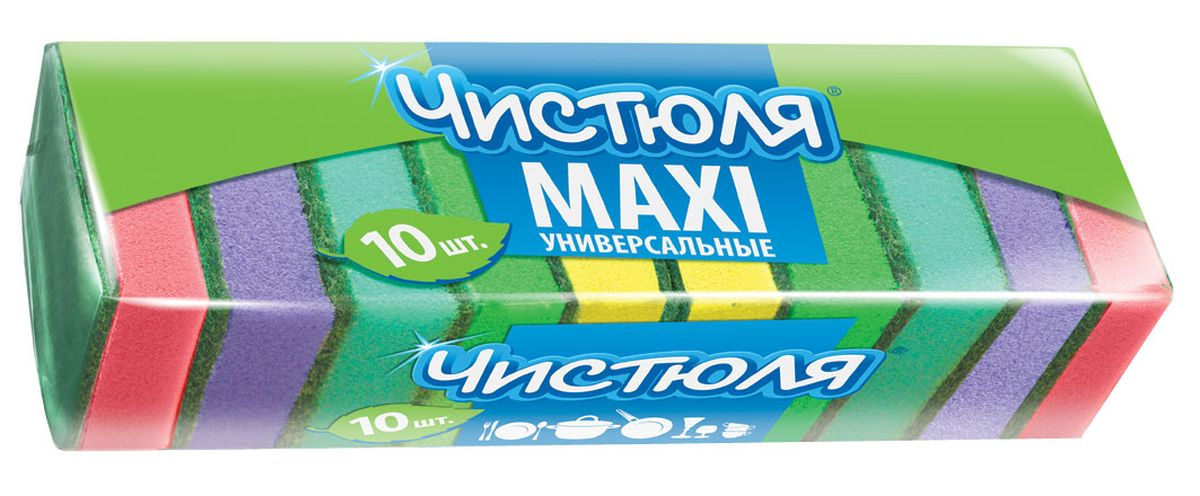 Губка для мытья посуды Чистюля Maxi, с абразивным слоем, 64 х 96 х 27 мм, 10 штDAVC150Губка для мытья посуды Чистюля Maxi имеет удобный размер, качественный жесткий абразив. Губка сохраняет хорошую форму в течение всего срока службы.