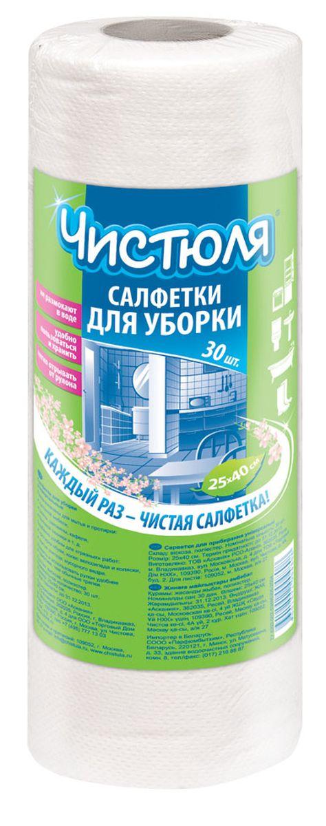 Салфетка для уборки Чистюля, в рулоне, 25 х 40 см, 30 штС001Салфетка для уборки Чистюля идеальна в качестве одноразовой для уборки грязных поверхностей.Большие листы: 25 х 40 см.