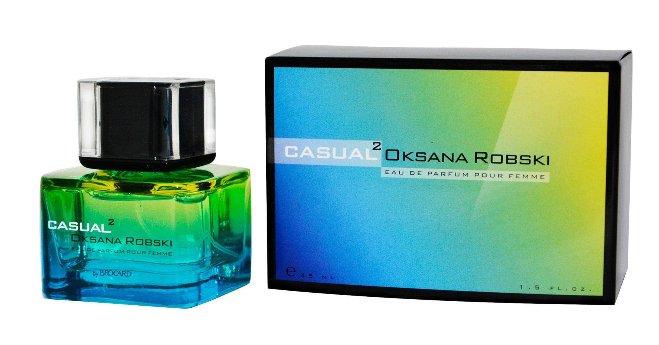 Brocard Oksana Robski Casual 2 парфюмерная вода для женщин, 45 мл81300Освежающий цитрусовый всплеск, фонтаны с чистейшей водой, яркая, сочная зелень. Аромат погружает нас в атмосферу удивительного, волшебного сада. Здесь запахи луговых цветов, ромашки, липового цвета и прозрачной кристальной воды, дополненные тропическим сладким теплом иланг-иланг и нежным ароматом утренней розы. Драгоценное розовое дерево, пудровая мягкость гелиотропа создают несравненный пленительный шлейф.