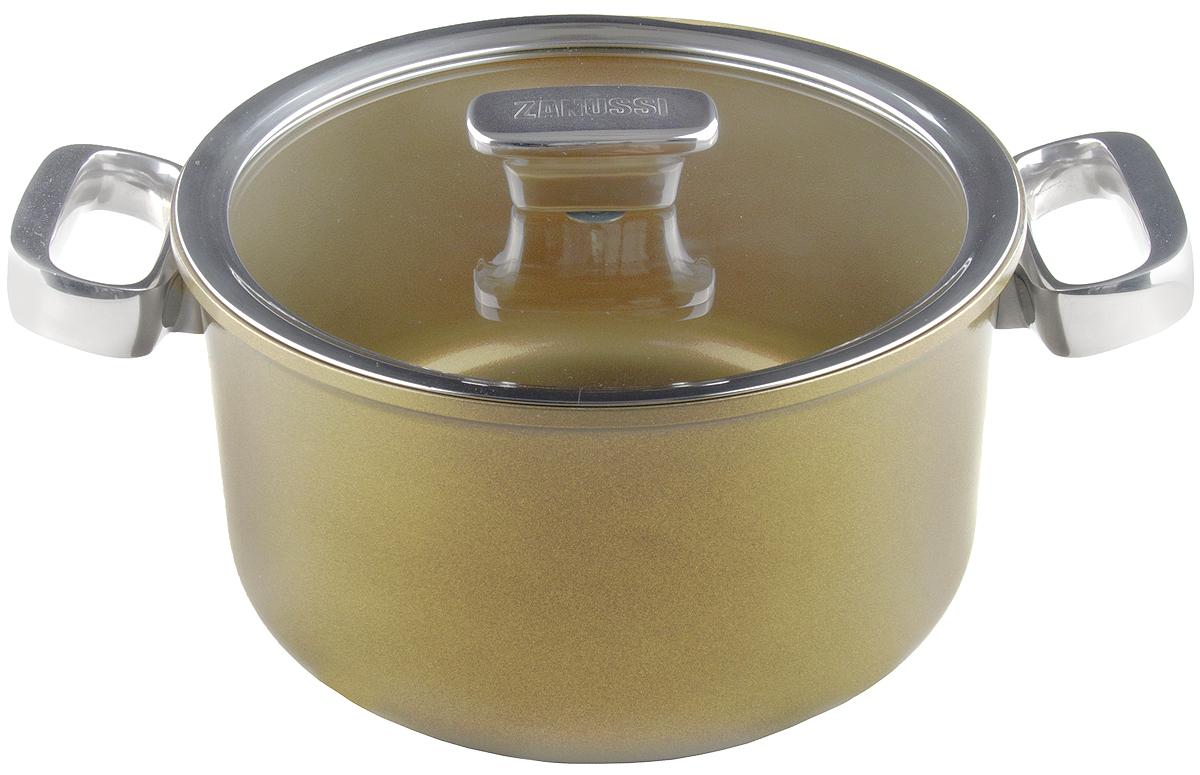 Кастрюля 5,6 л (24см) Capri ZANUSSI54 009312Кастрюля подходит для всех типов плит, включая индукционные. Изготовлена из алюминия с внешним покрытием цвета золотистое шампанское. Многослойное дно. Внутреннее 2-х керамическое покрытие Greblon® не содержит вредные кислоты PTFE и PFOA. Ручки выполнены из нержавеющей стали, крышка с вентиляционным отверстием, изготовлена из термостойкого качественного стекла, что позволяет просматривать процесс приготовления пищи без потери тепла. Кастрюля подходит для приготовления блюд в духовке. Можно мыть в посудомоечной машине. Высота борта: 13 см.