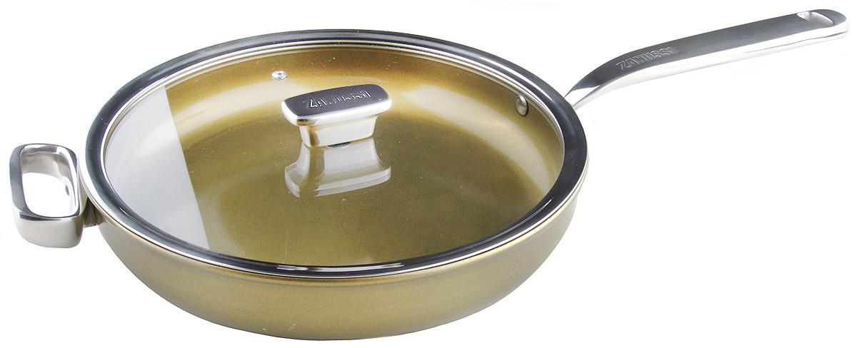 Сковорода 28см c крышкой(стекло) Capri ZANUSSI54 009312Сковорода глубокая подходит для всех типов плит, включая индукционные. Изготовлена из алюминия с внешним покрытием цвета золотистое шампанское. Многослойное дно. Внутреннее 2-х керамическое покрытие Greblon® не содержит вредные кислоты PTFE и PFOA. Ручки выполнены из нержавеющей стали, крышка с вентиляционным отверстием, изготовлена из термостойкого качественного стекла, что позволяет просматривать процесс приготовления пищи без потери тепла. Сковорода глубокая подходит для приготовления блюд в духовке. Можно мыть в посудомоечной машине. Сковорода идеально подходит для жарки мяса и рыбы, для подрумянивания или тушения овощей. Сковорода ценится за свою универсальность. Высота борта: 7 см..