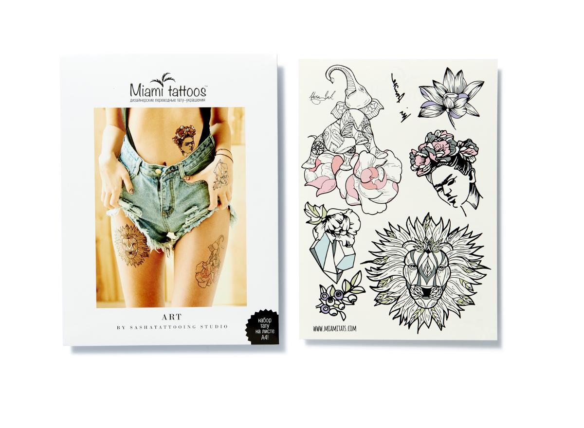 Miami Tattoos Переводные тату Art by Nora Ink, 1 лист, 29,7 см х 21 см1301210Нора Инк - одна из татуировщиц известной тату-студии Sasha Tattooing Studio. Ее стиль - не только женственные и изящные цветы(особенно пионы), но и мистические фигуры. Начав рисовать набор для Miami Tattoos, она не смогла остановиться на одном эскизе, анарисовала сет из трех листов, которые сразу же стали бестселлерами.