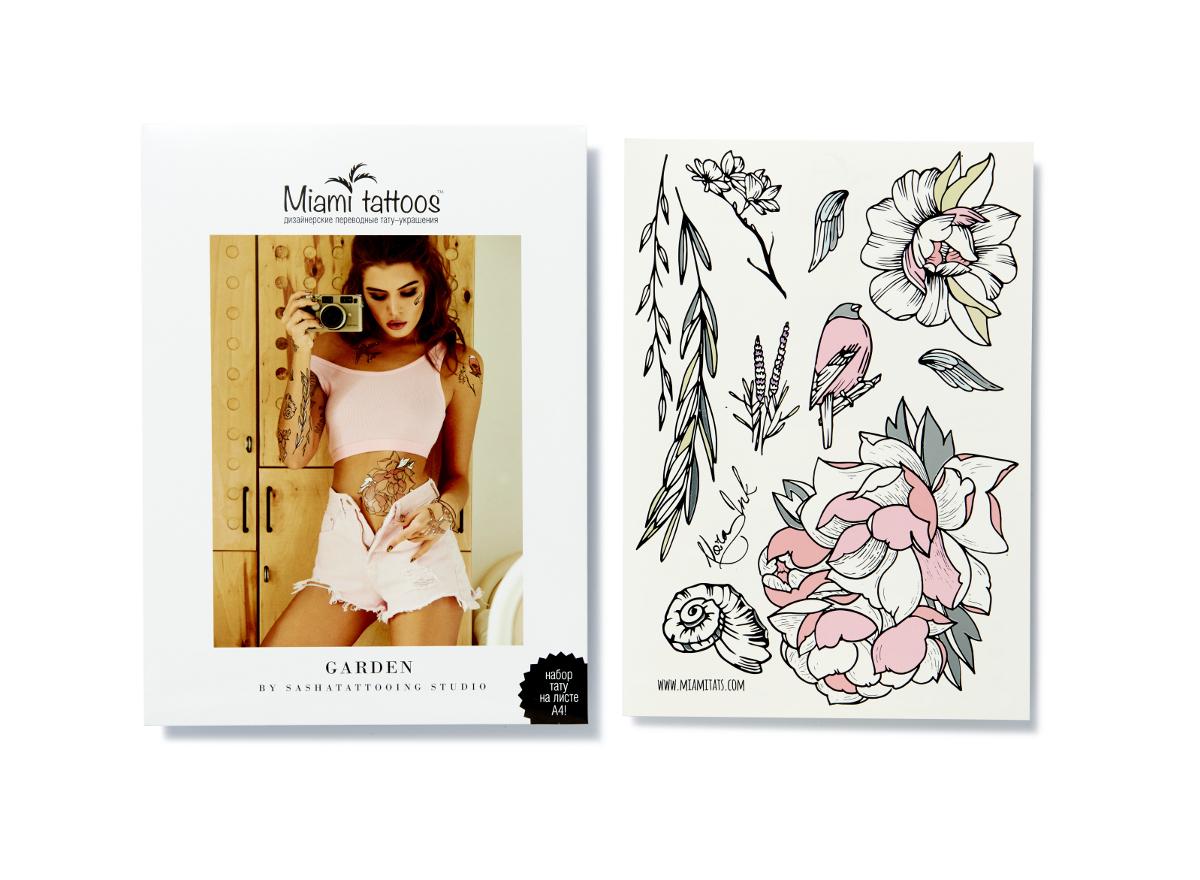 Miami Tattoos Переводные тату Garden by Nora Ink, 1 лист, 29,7 см х 21 см1301210Нора Инк - одна из татуировщиц известной тату-студии Sasha Tattooing Studio. Ее стиль - не только женственные и изящные цветы(особенно пионы), но и мистические фигуры. Начав рисовать набор для Miami Tattoos, она не смогла остановиться на одном эскизе, анарисовала сет из трех листов, которые сразу же стали бестселлерами.