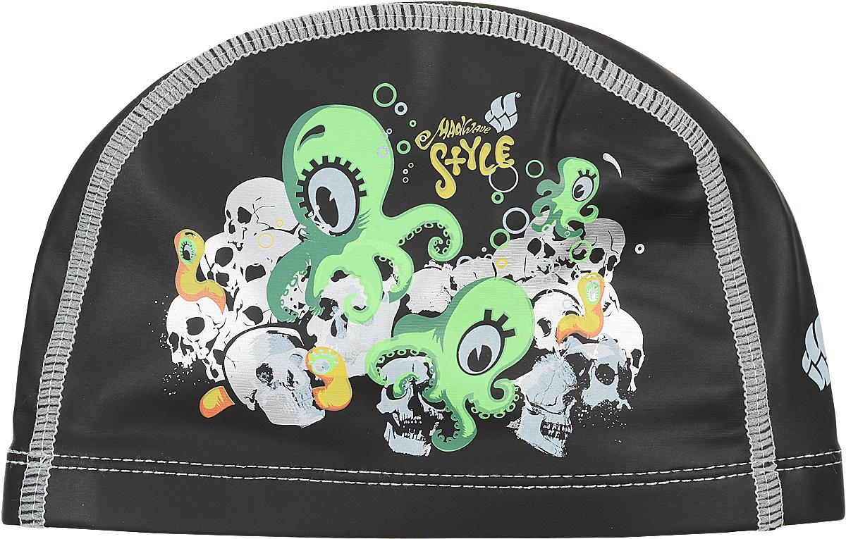 Шапочка для плавания MadWave Octopus, нейлоновая, цвет: черныйTS V-31 NBLДетская текстильная шапочка с полиуретановым покрытием и весёлым рисунком на боковой части. Лучший выбор для вашего ребёнка для ежедневных тренировок. Шапочка очень легкая и эргономичная. Характеристики: Материал: 80% нейлон, 20% эластомер, ПУ покрытие. Размер шапочки: 22 см x 13 см. Размер упаковки: 27 см х 17 см х 1 см. Производитель: Китай.Артикул: M0582 01 0 00W.