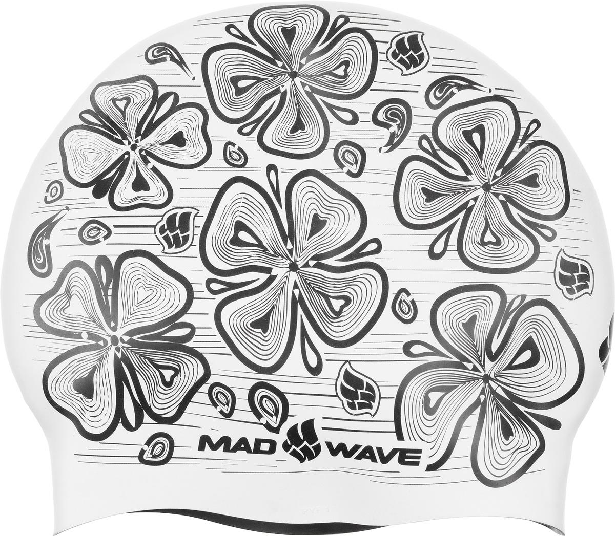 Шапочка для плавания MadWave Reverse Flora, силиконовая, двусторонняя, цвет: зеленый шапочка для плавания madwave madwave ma991dkiwh88