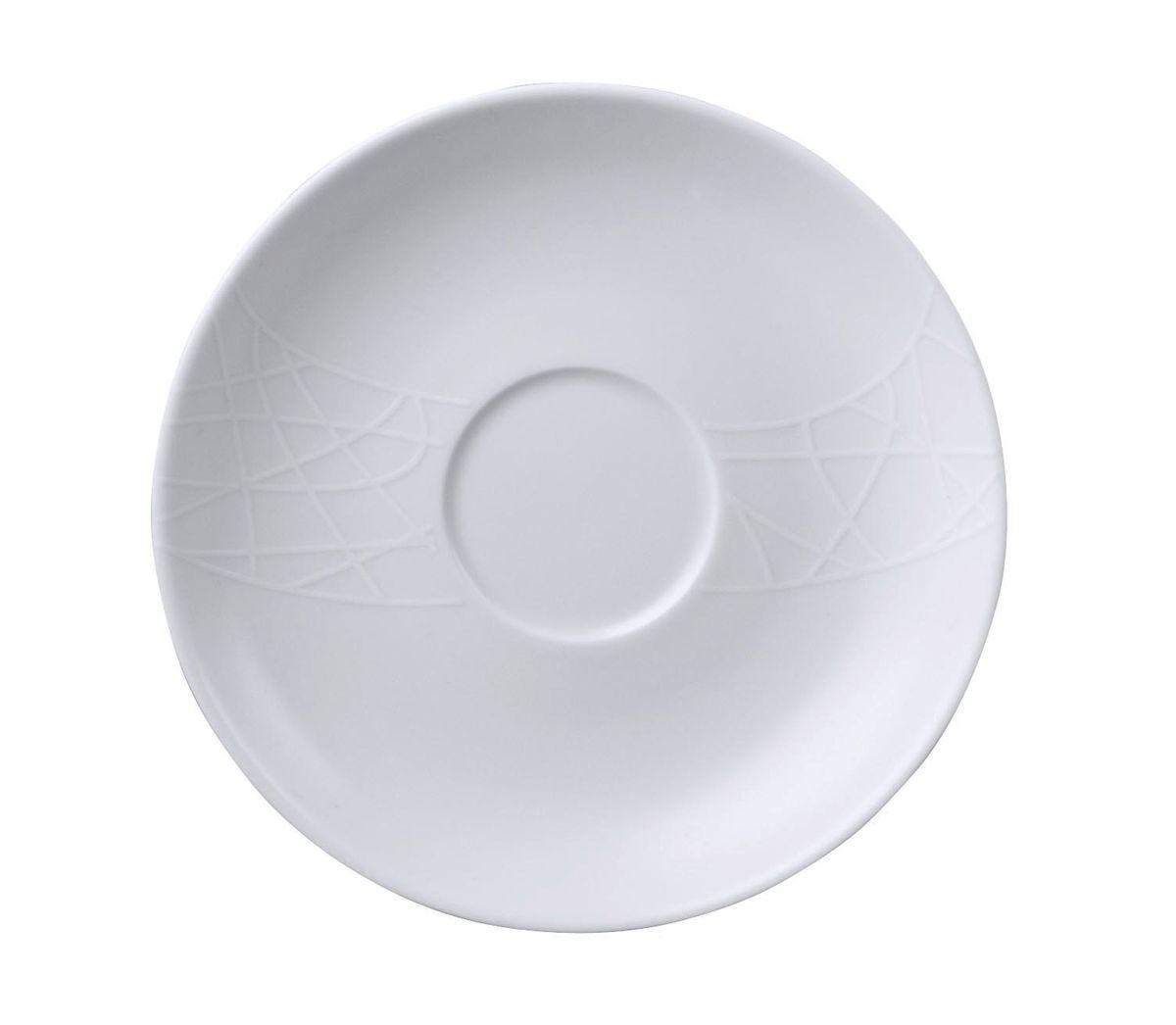 Блюдце чайное Churchill, диаметр 17 см. 670201801APRARN86010Джейми Оливер. Простой орнамент с тонкими текстурными линиями. Коллекция «Белое на белом» - лёгкий и непринуждённый стиль. Посуда этой коллекции износостойкая и ударопрочная.